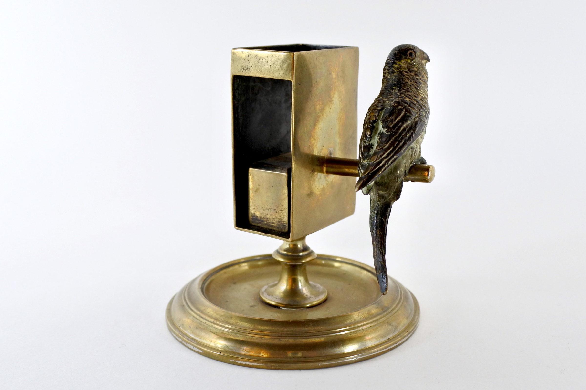 Bronzo di Vienna – Portafiammiferi con pappagallo - 4