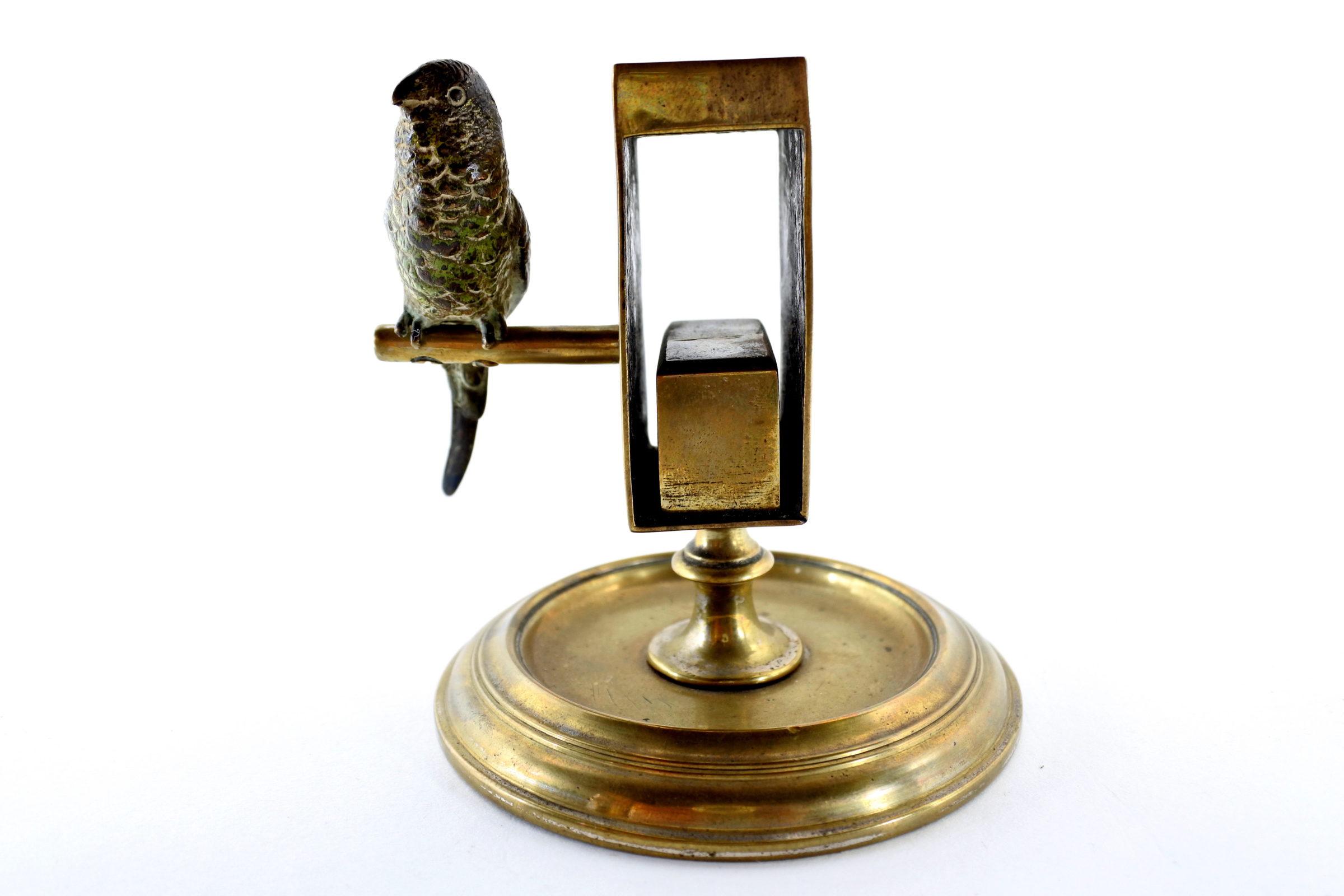 Bronzo di Vienna – Portafiammiferi con pappagallo - 3