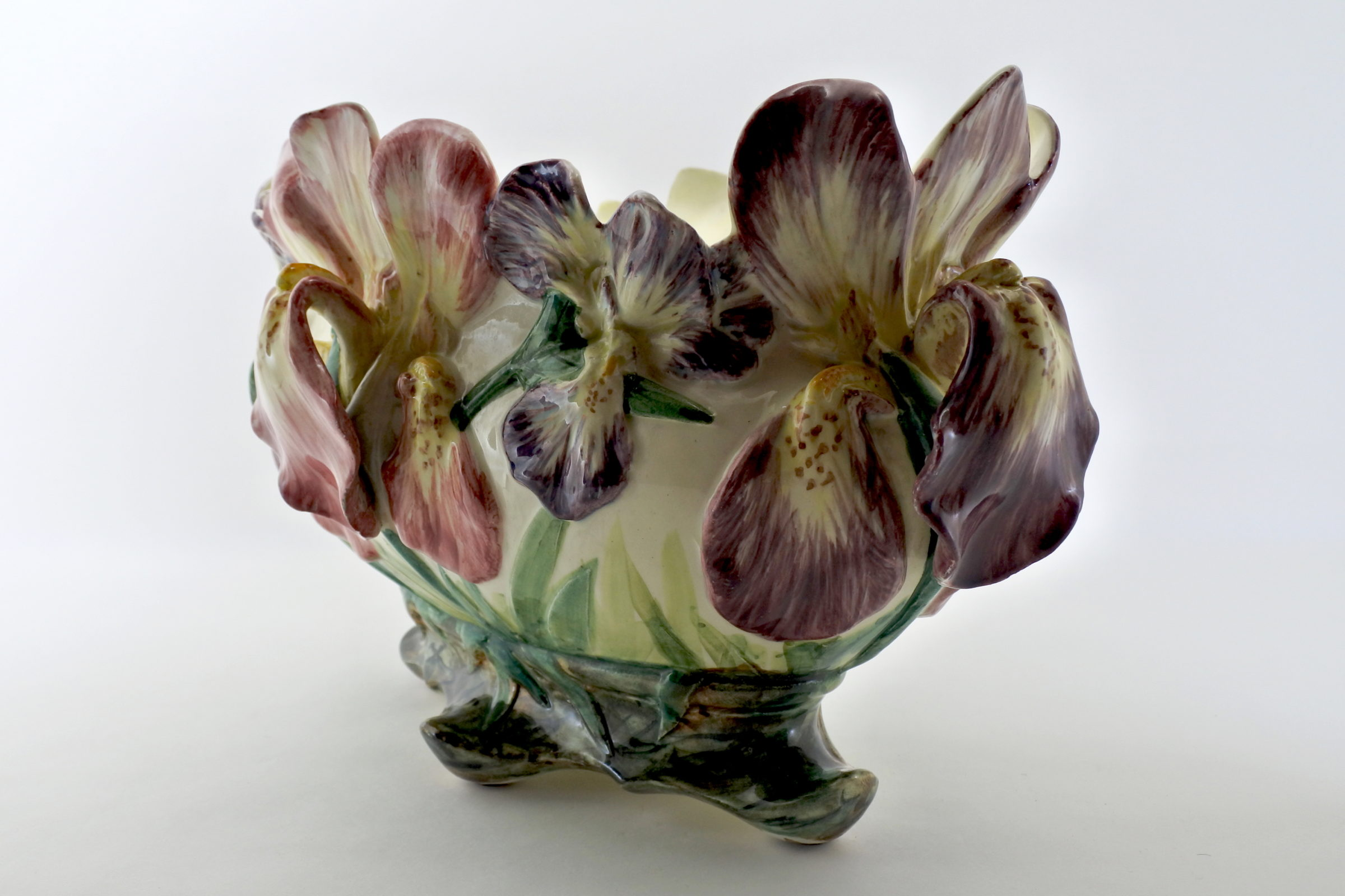 Jardinière Massier in ceramica barbotine con iris - 4