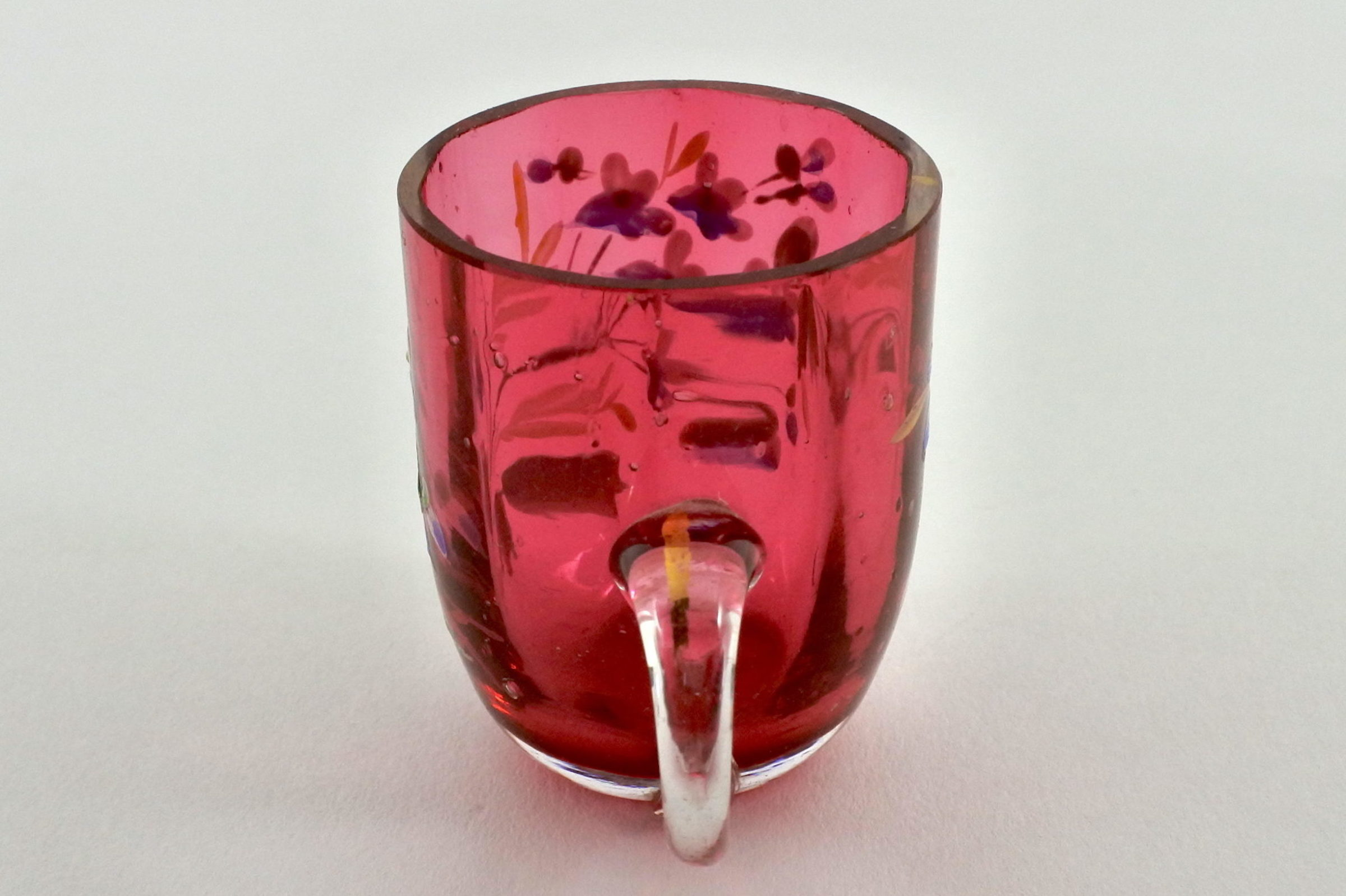 Bicchierino con manico in vetro rosso soffiato e smalti - 4