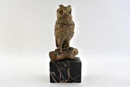 Calamaio in bronzo e marmo a forma di civetta