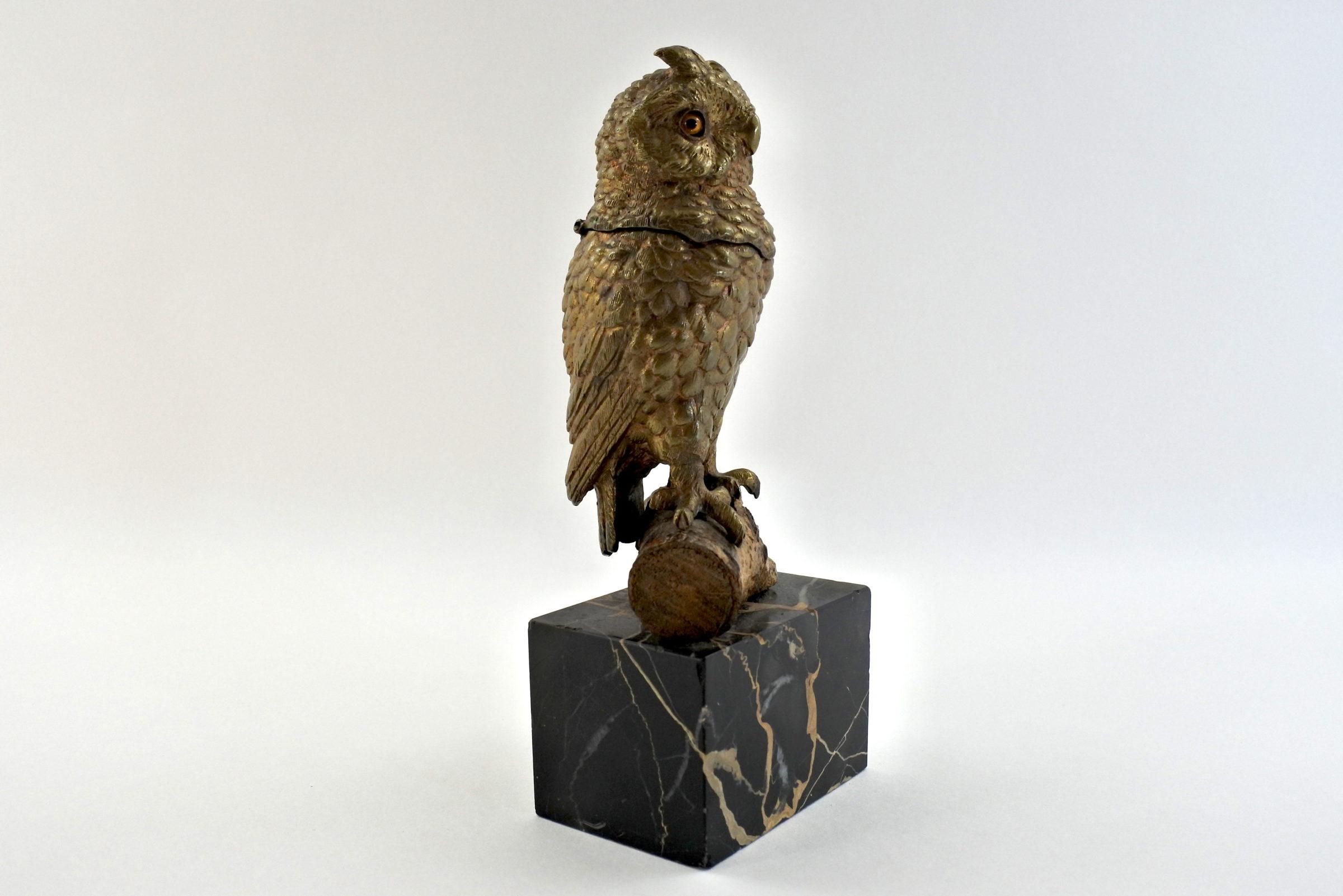 Calamaio in bronzo e marmo a forma di civetta - 2