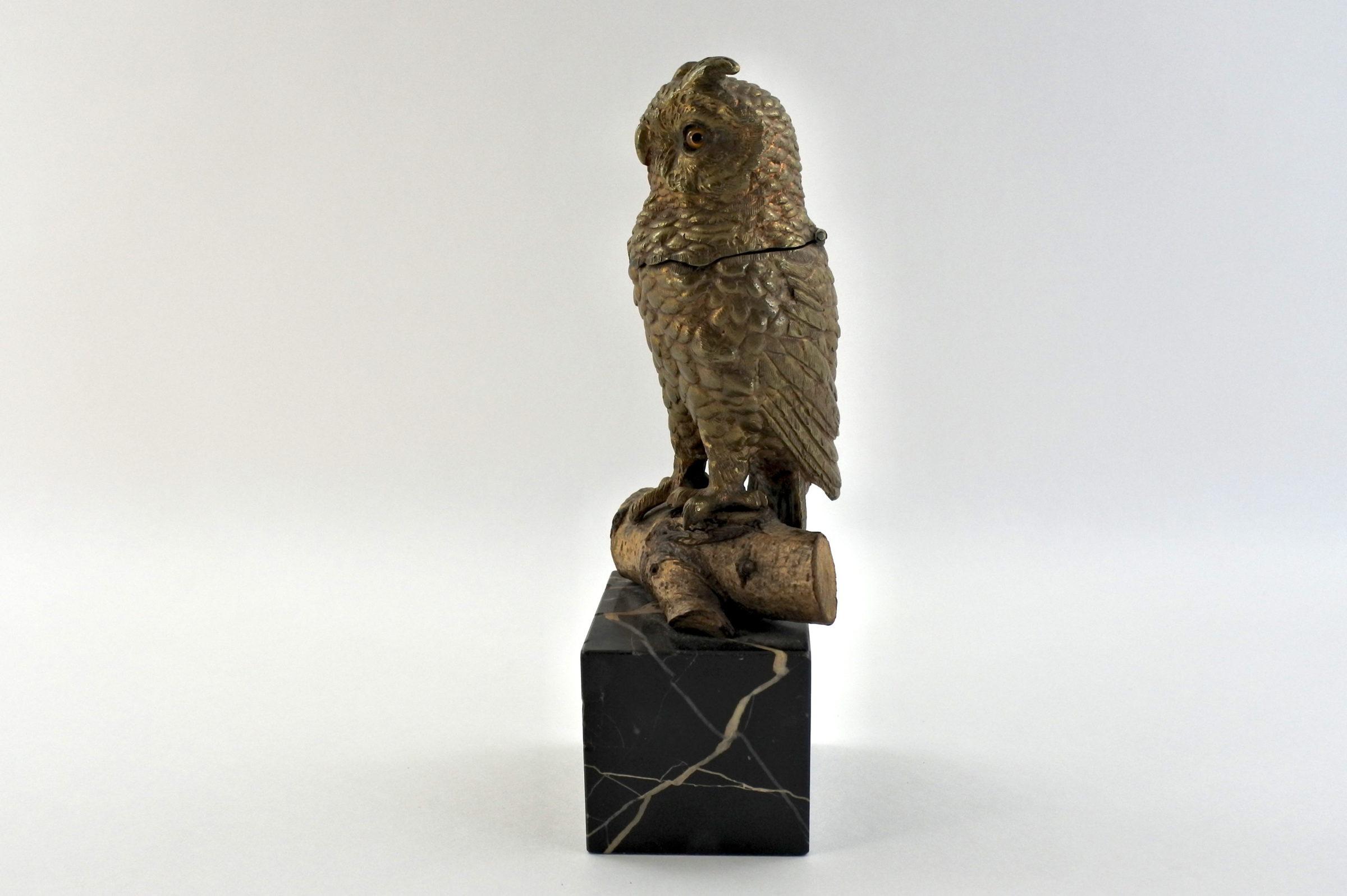 Calamaio in bronzo e marmo a forma di civetta - 4