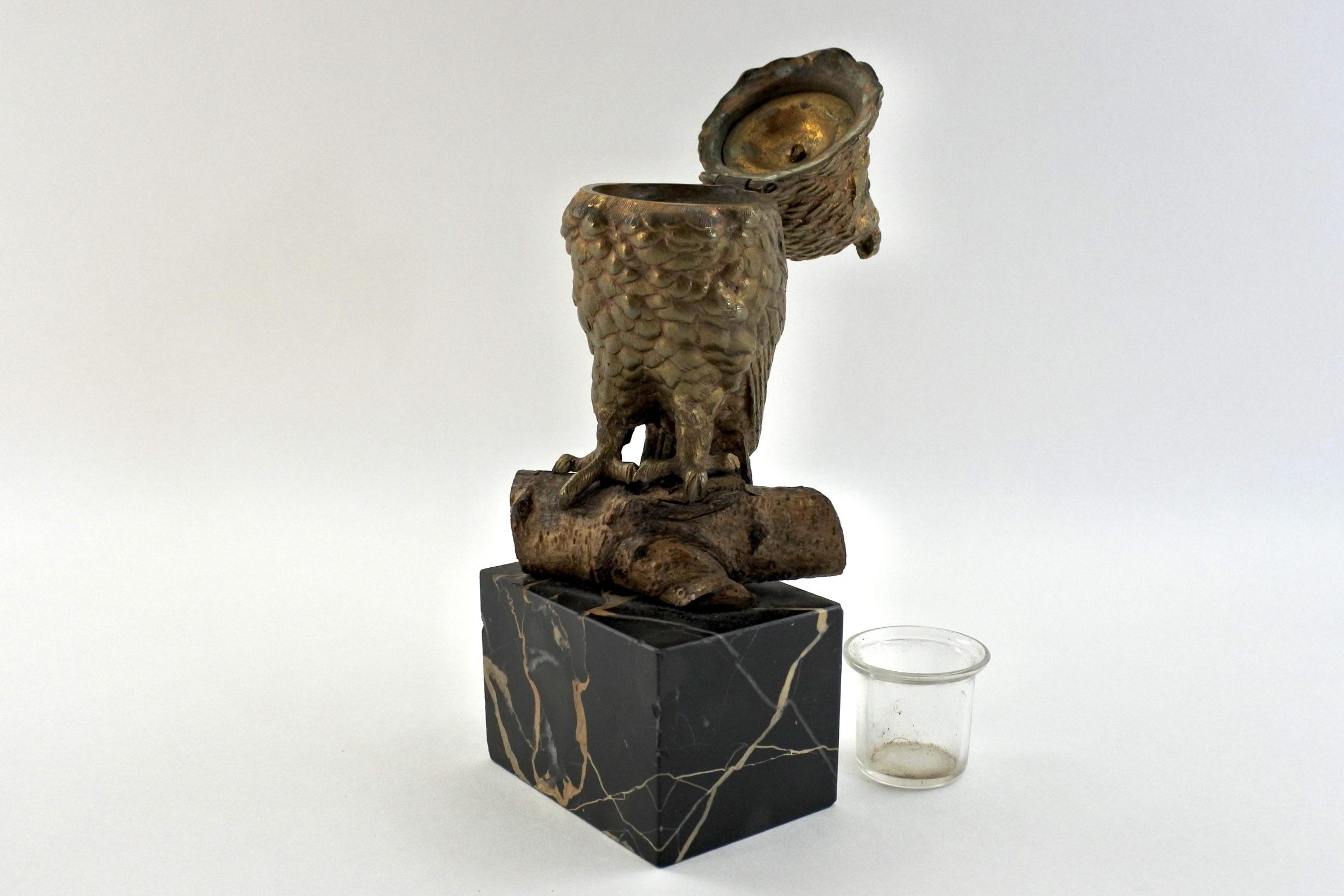 Calamaio in bronzo e marmo a forma di civetta - 5