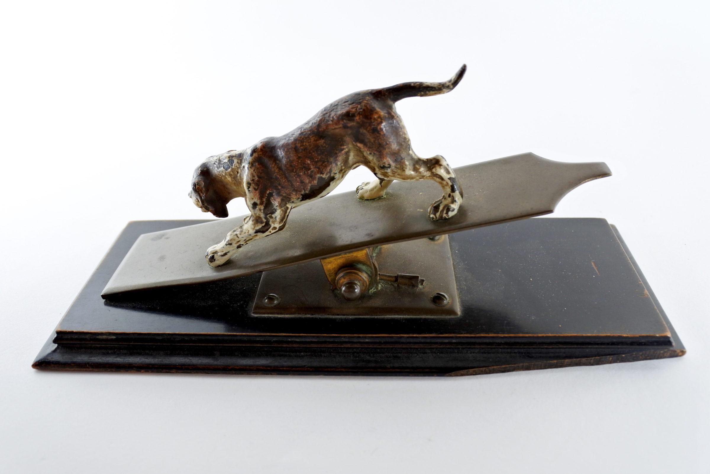 Bronzo di Vienna - Pinza fogli con cane - 3
