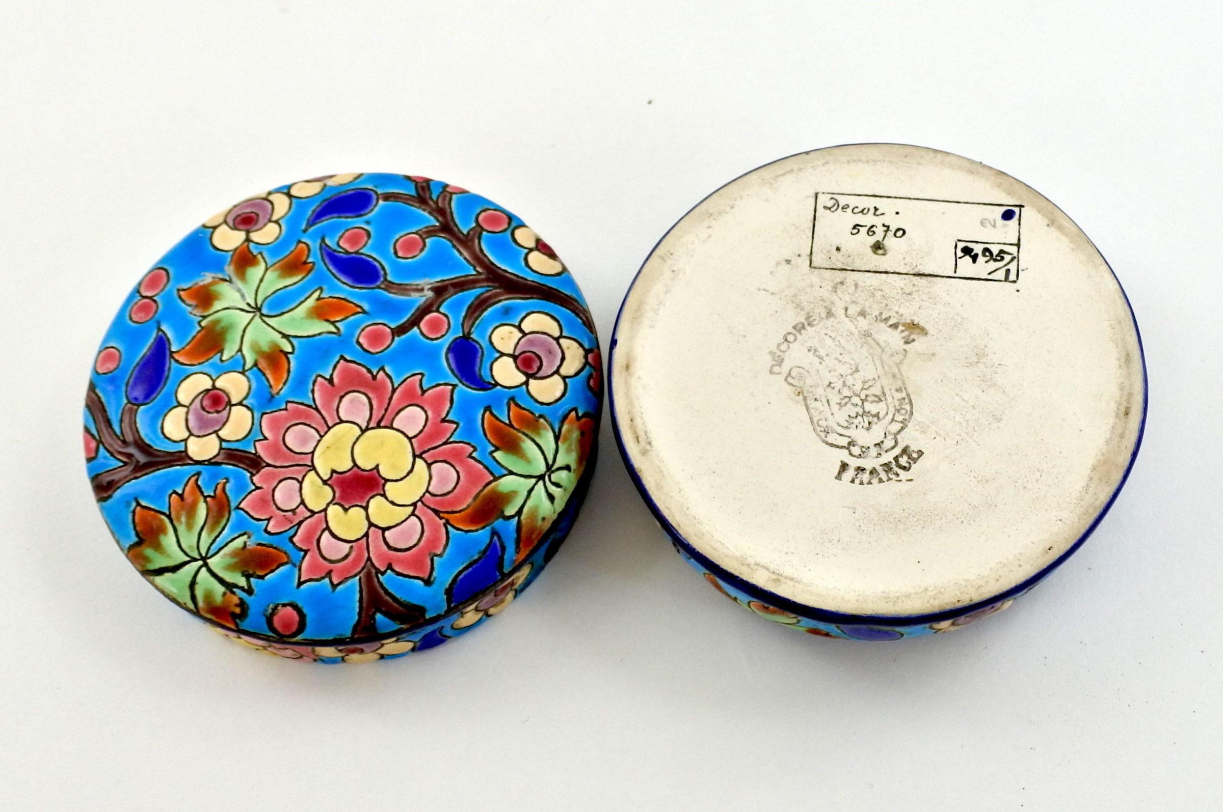 Scatolina in ceramica di Longwy con smalti - 2