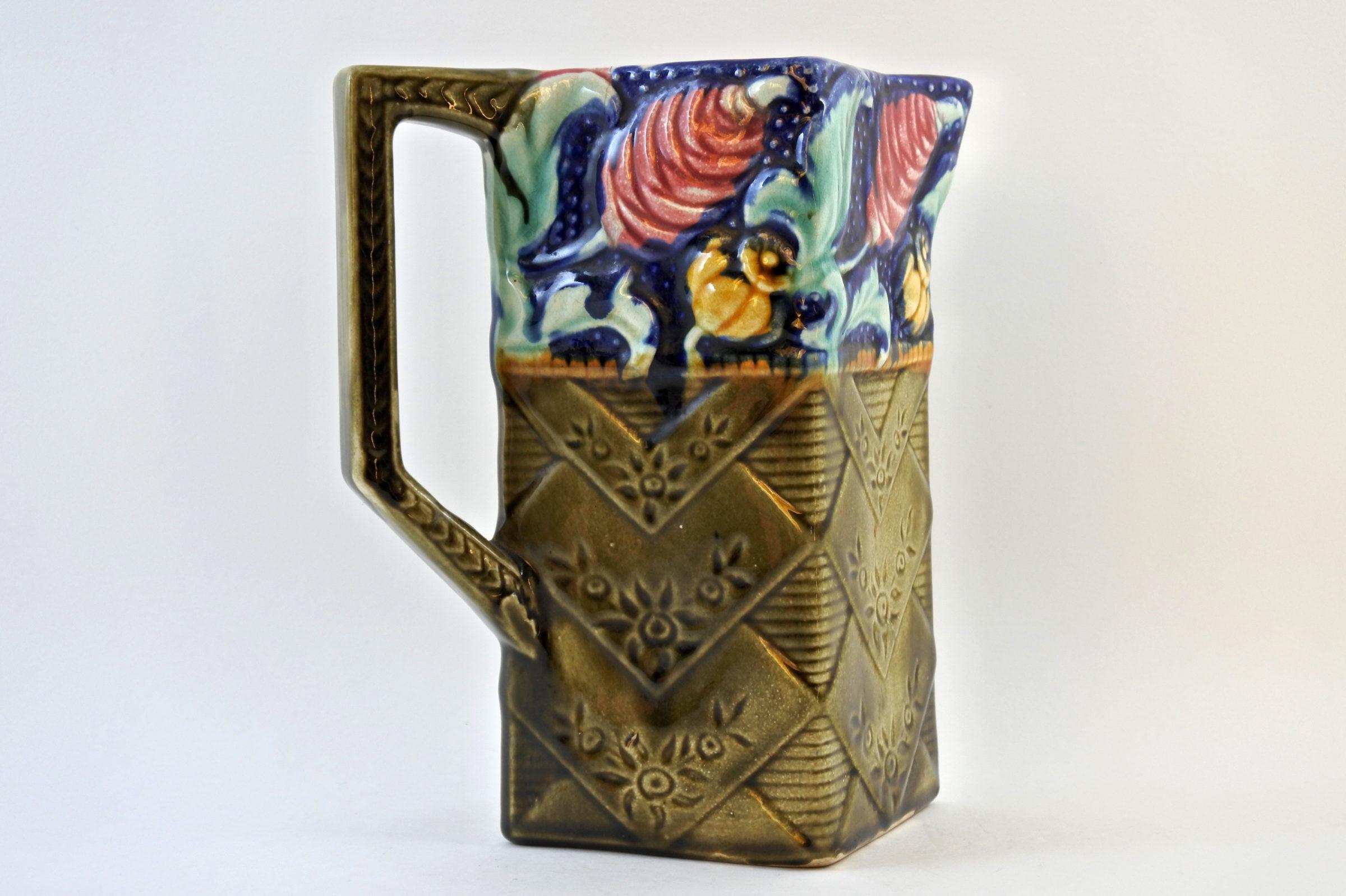 Brocca in ceramica barbotine con fiori - Céleste - 3