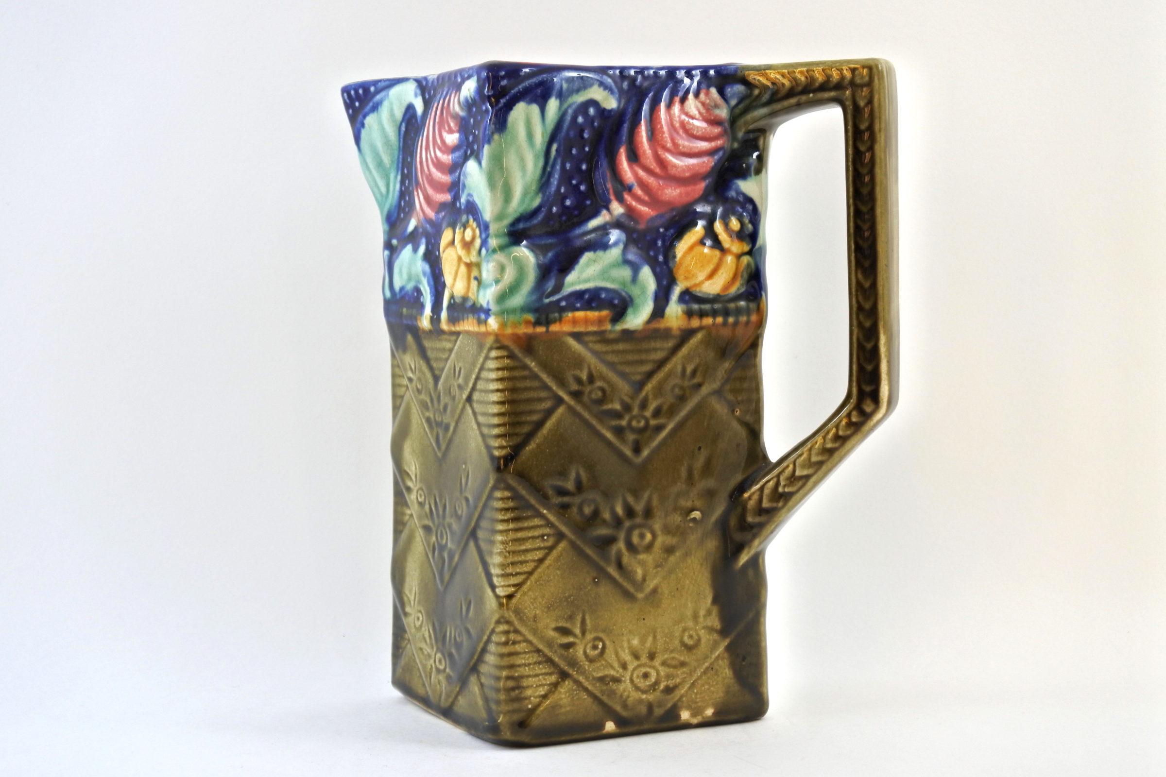 Brocca in ceramica barbotine con fiori - Céleste - 2