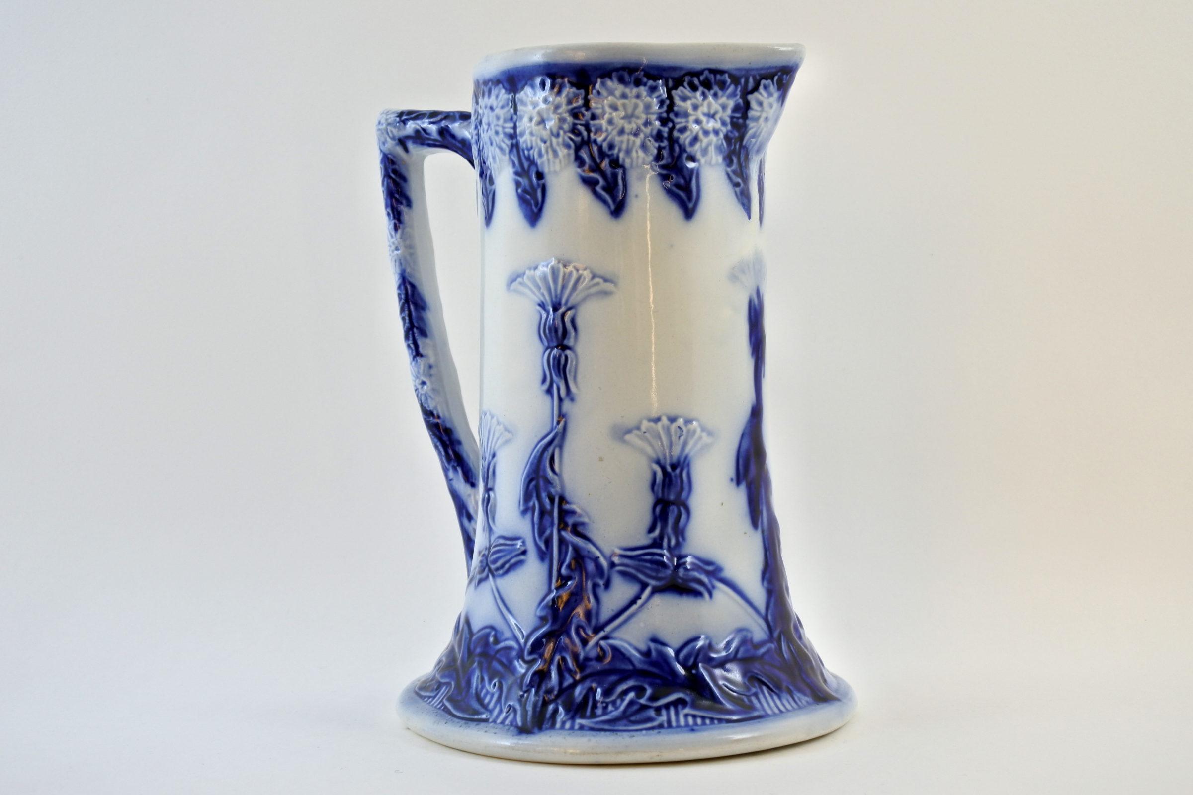 Brocca in ceramica barbotine con cardi monocromatici - Chardons - 3