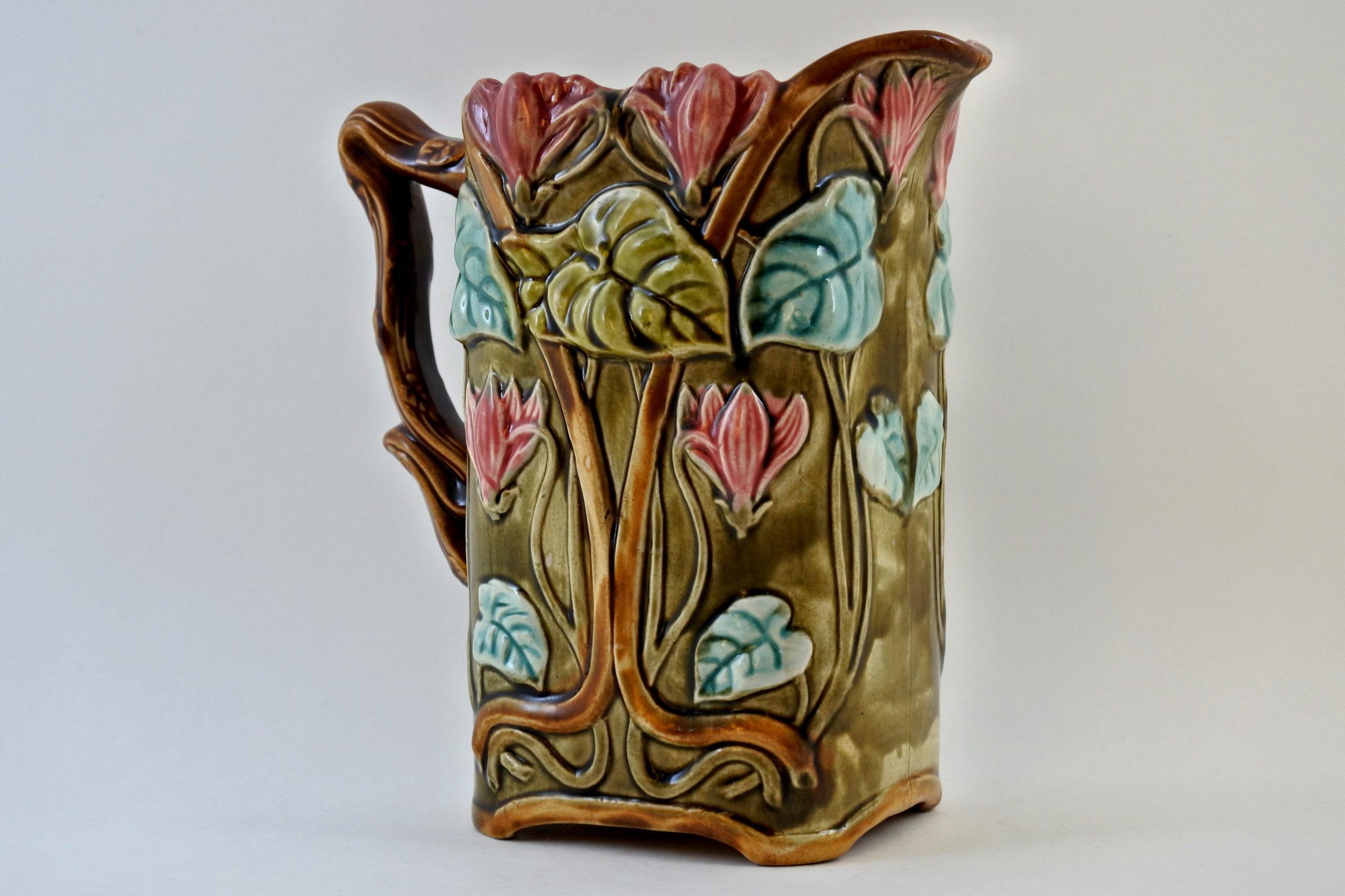 Brocca in ceramica barbotine con ciclamini - Carré cyclamen - 4