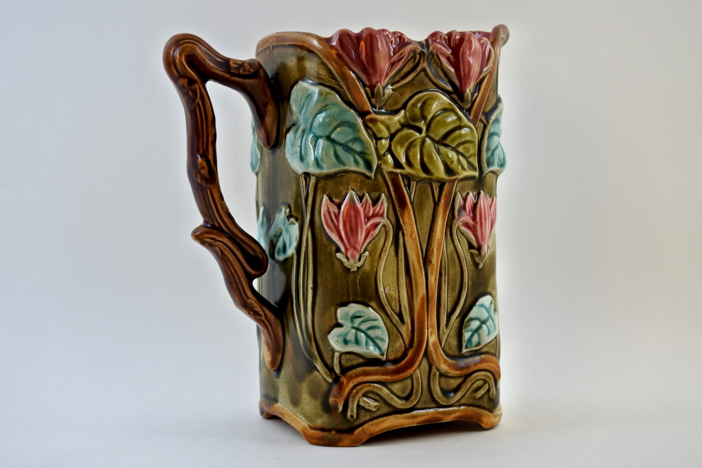 Brocca in ceramica barbotine con ciclamini - Carré cyclamen - 3