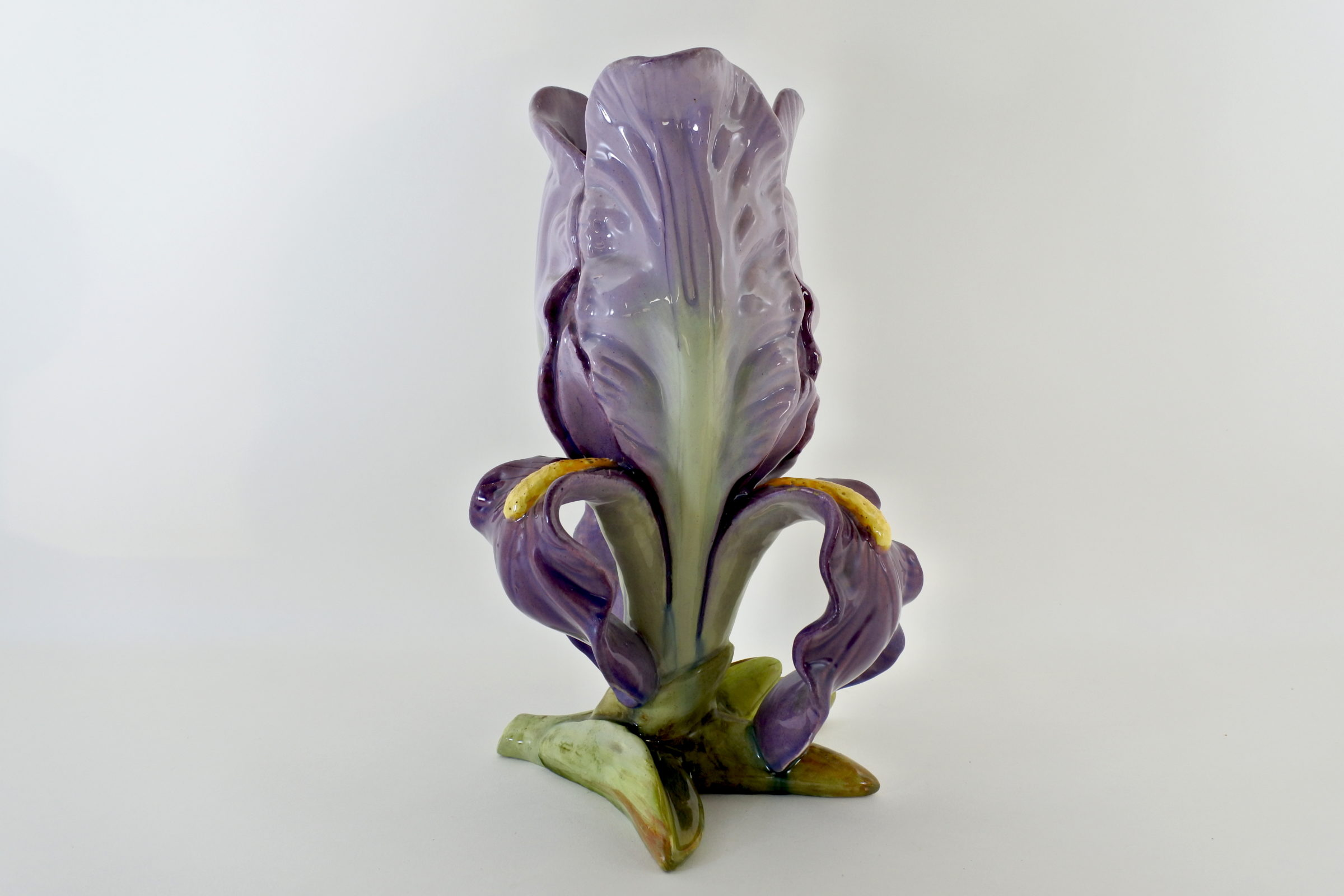 Vaso Massier in ceramica barbotine a forma di iris - 2