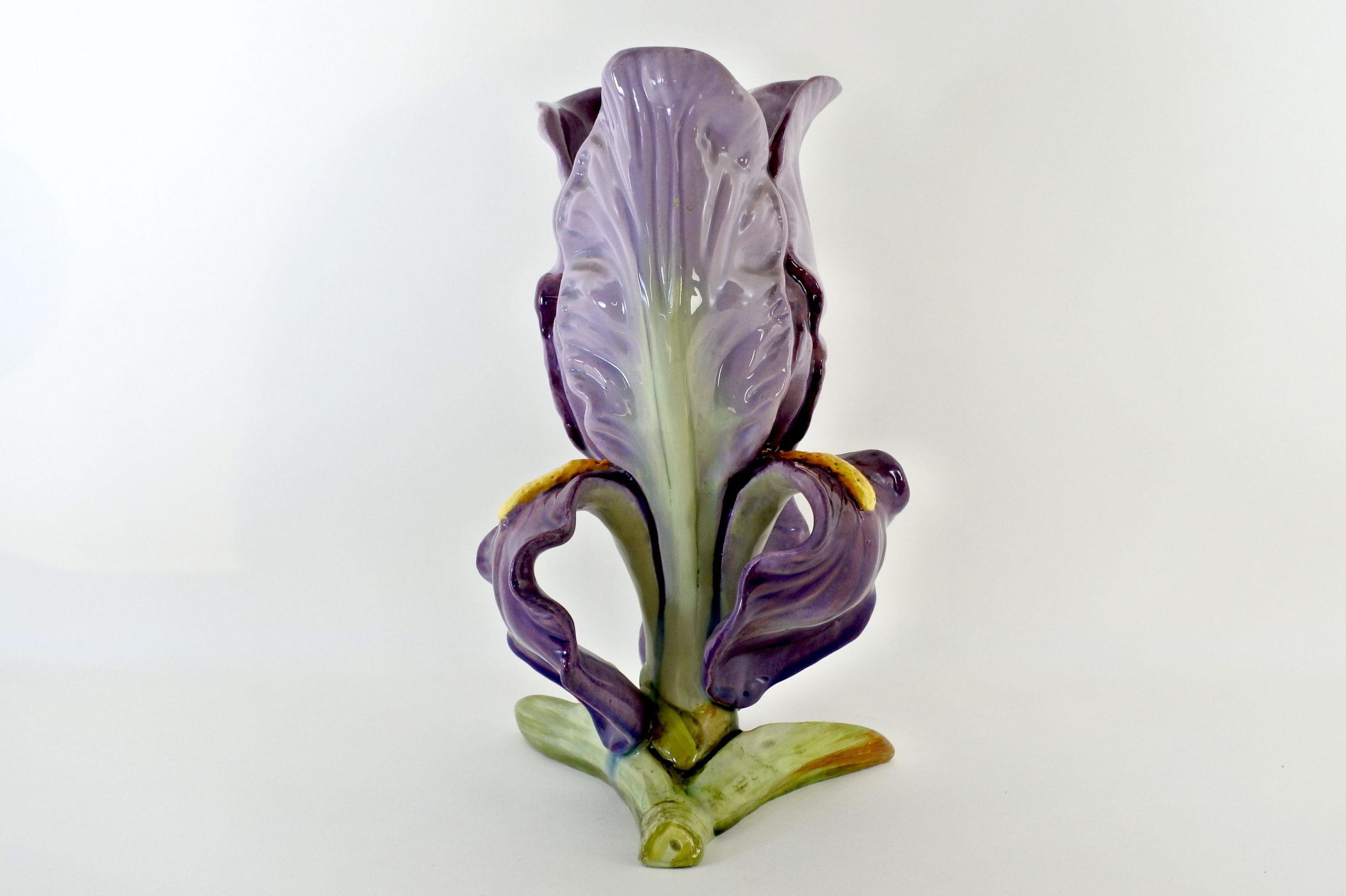 Vaso Massier in ceramica barbotine a forma di iris - 3