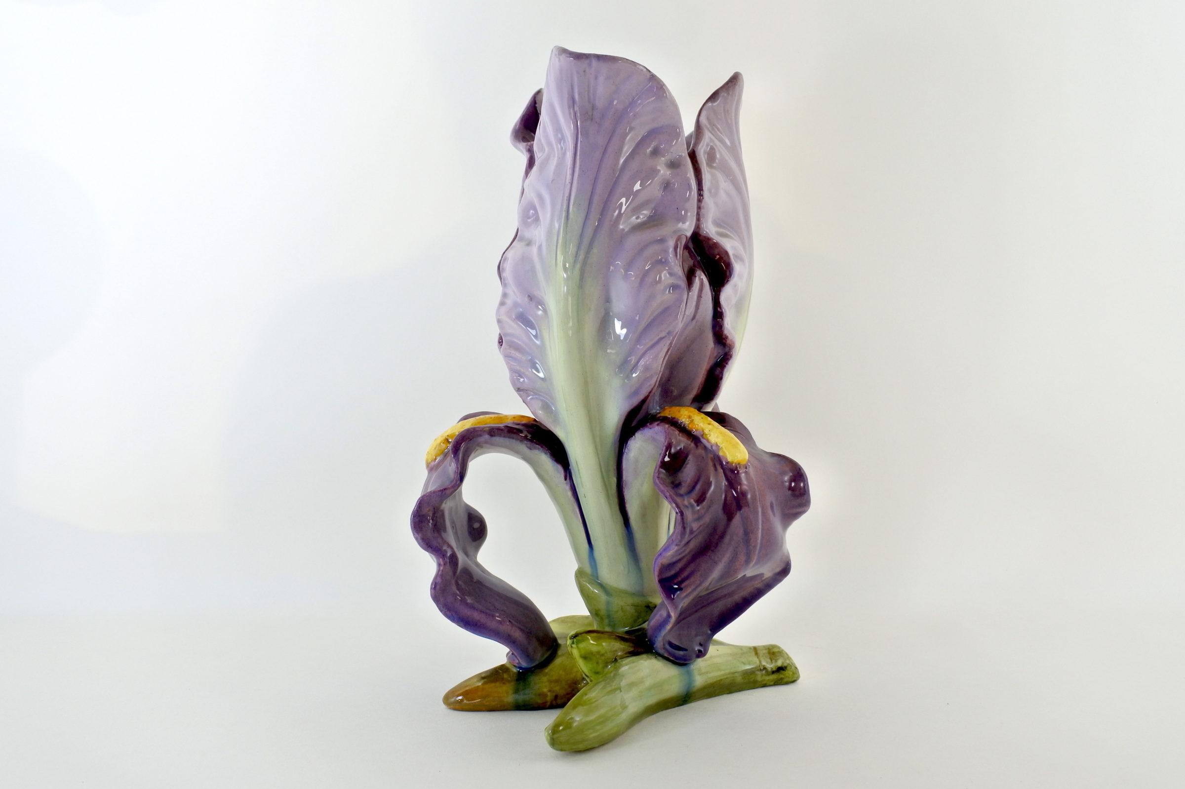 Vaso Massier in ceramica barbotine a forma di iris - 4