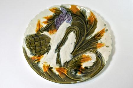 Piatto in ceramica barbotine per asparagi e carciofi - Orchies