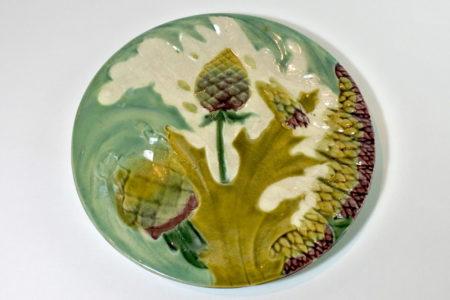 Piatto in ceramica barbotine per asparagi e carciofi - Lunéville