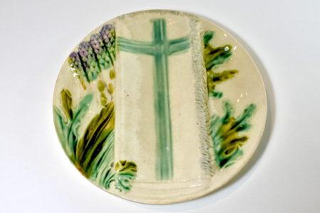 Piatto in ceramica barbotine per asparagi - Salins les Bains