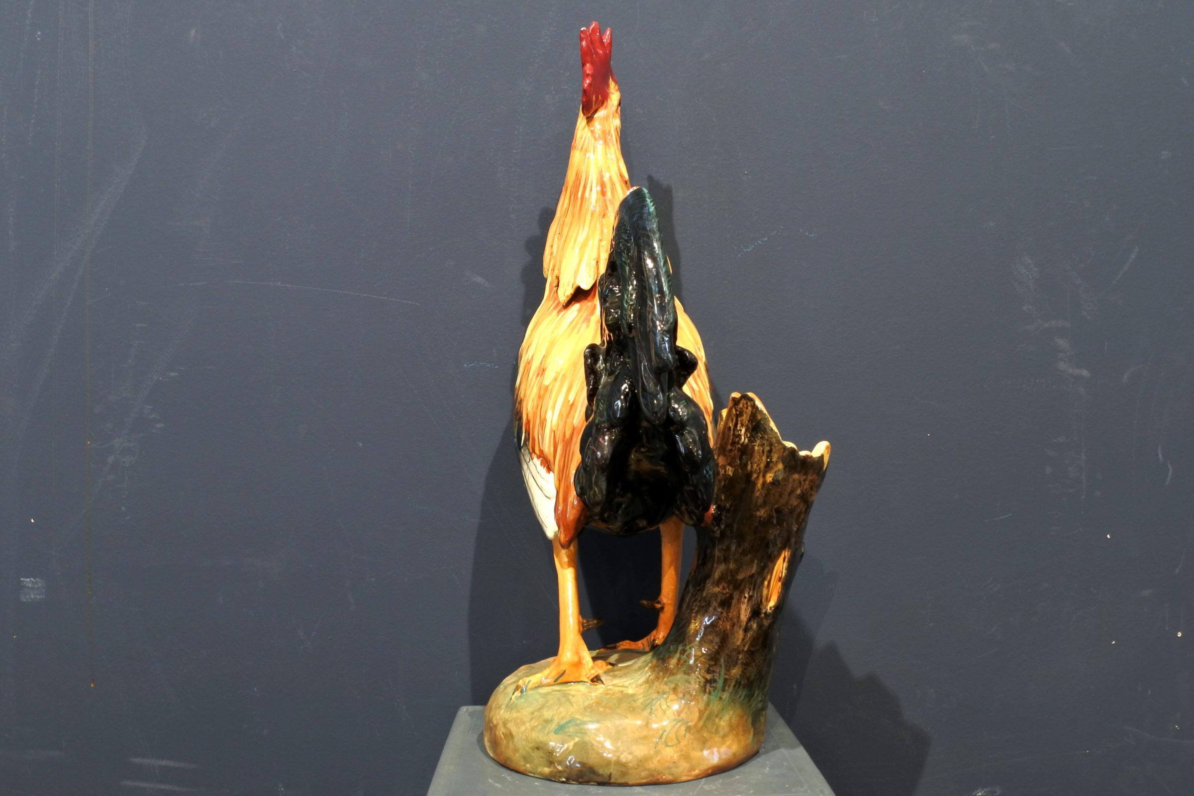 Jardinière Massier in ceramica barbotine a forma di gallo - 3