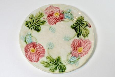 Piatto in ceramica barbotine con fiori - Diametro 21 cm