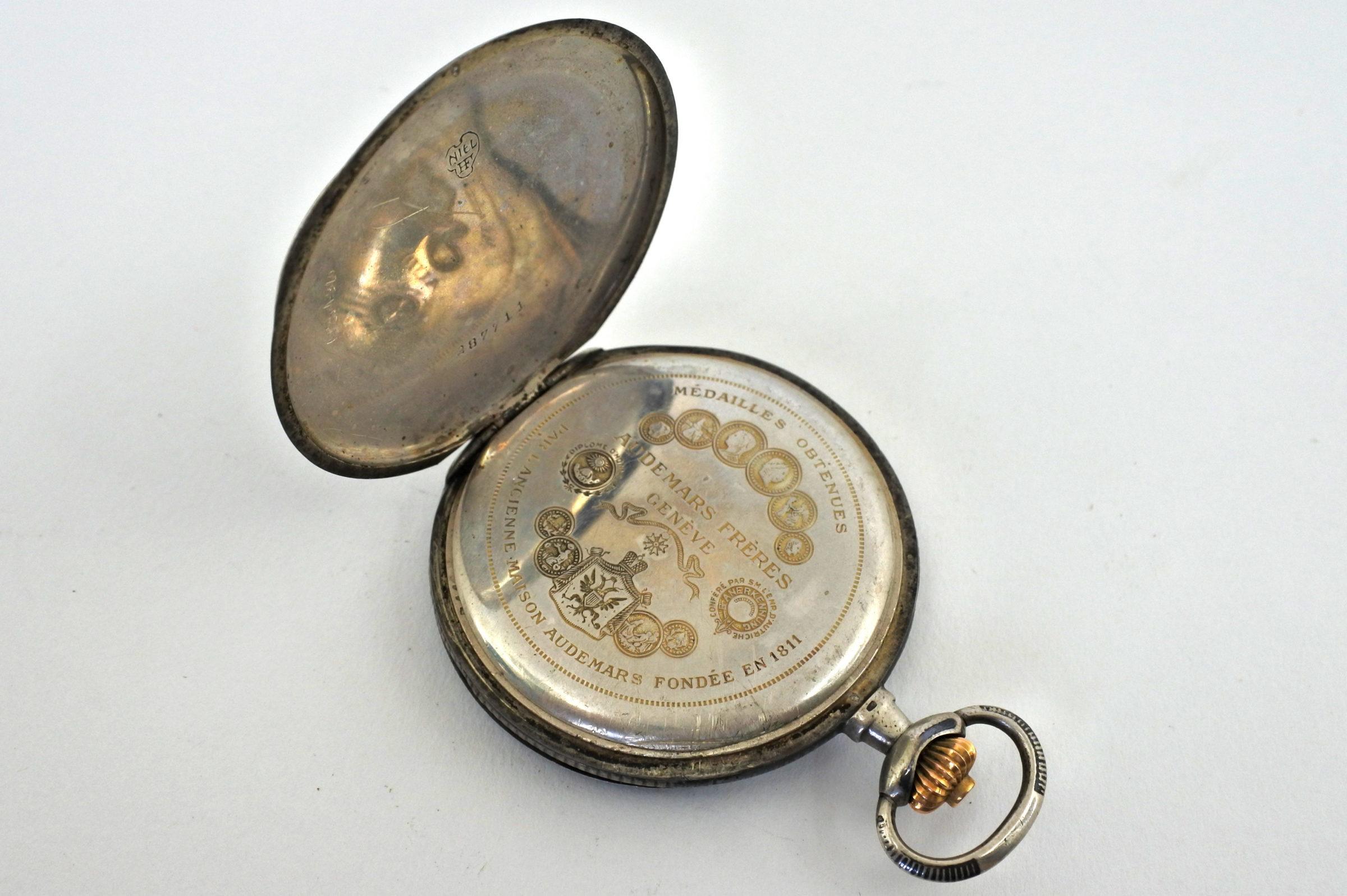 Orologio da tasca in argento e niello – Audemars Piguet Genève - 3