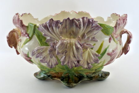 Jardinière Massier in ceramica barbotine con tulipani pappagallo - Tulipes perroquet
