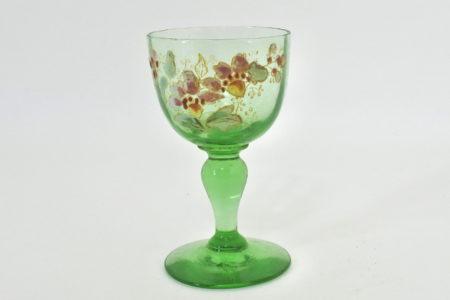 Bicchierino Legras in vetro verde soffiato e smalti