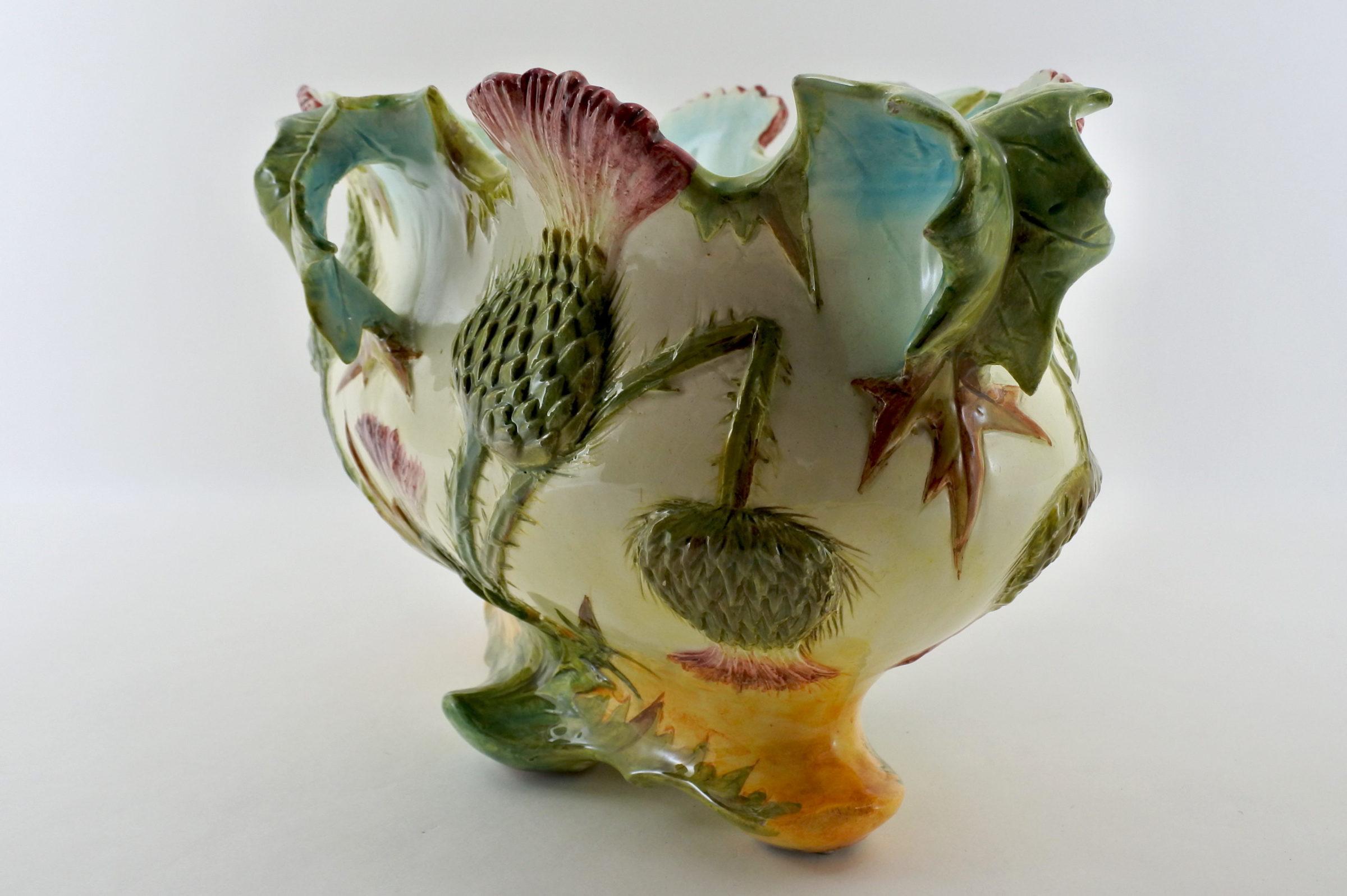 Jardinière Massier in ceramica barbotine con cardi - Chardons - 2