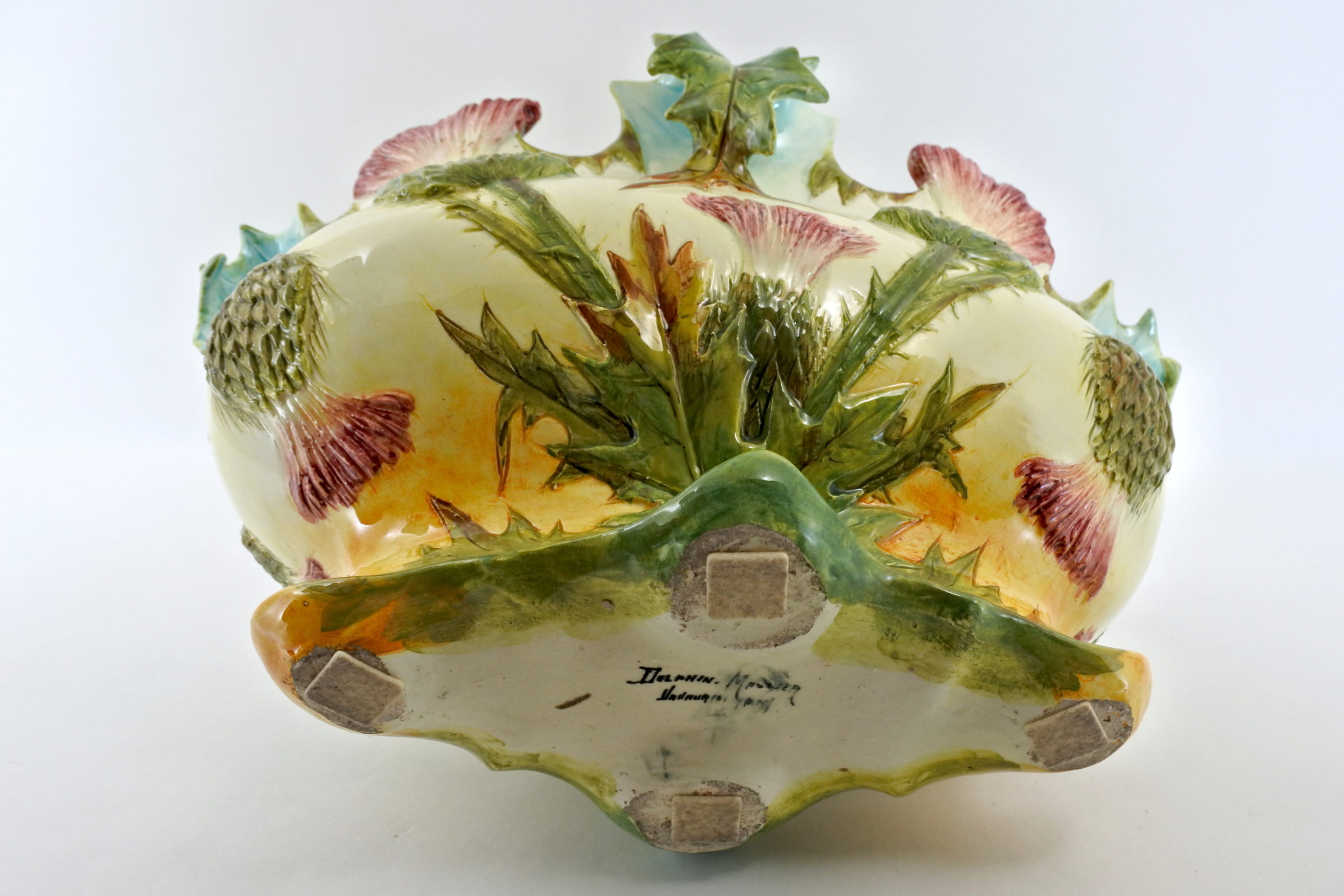 Jardinière Massier in ceramica barbotine con cardi - Chardons - 3