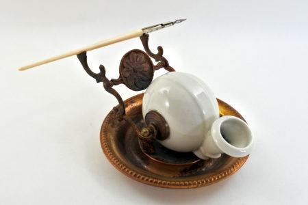 Calamaio in ceramica a forma di chiocciola