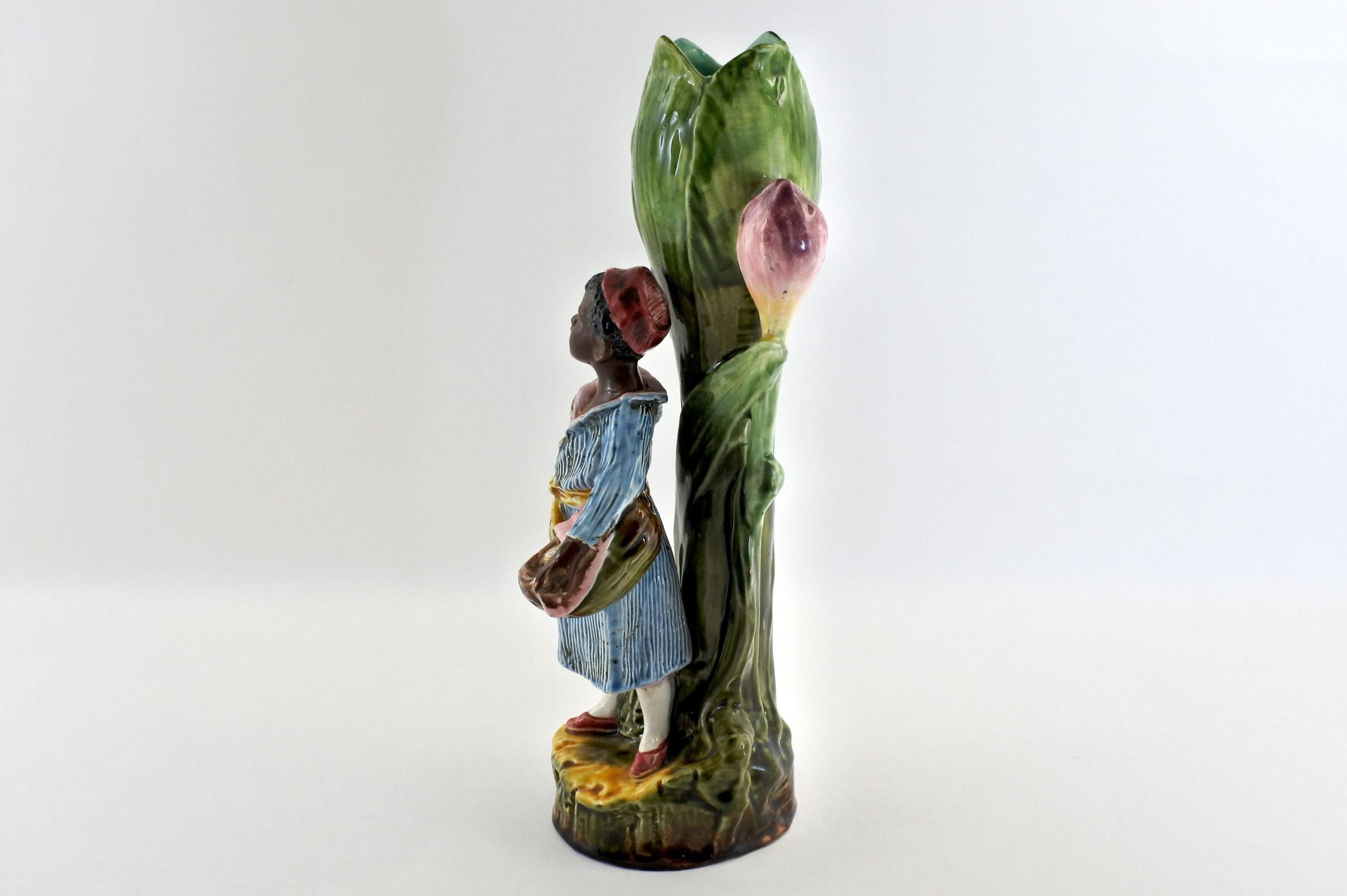 Vaso in ceramica barbotine con negretto - 2