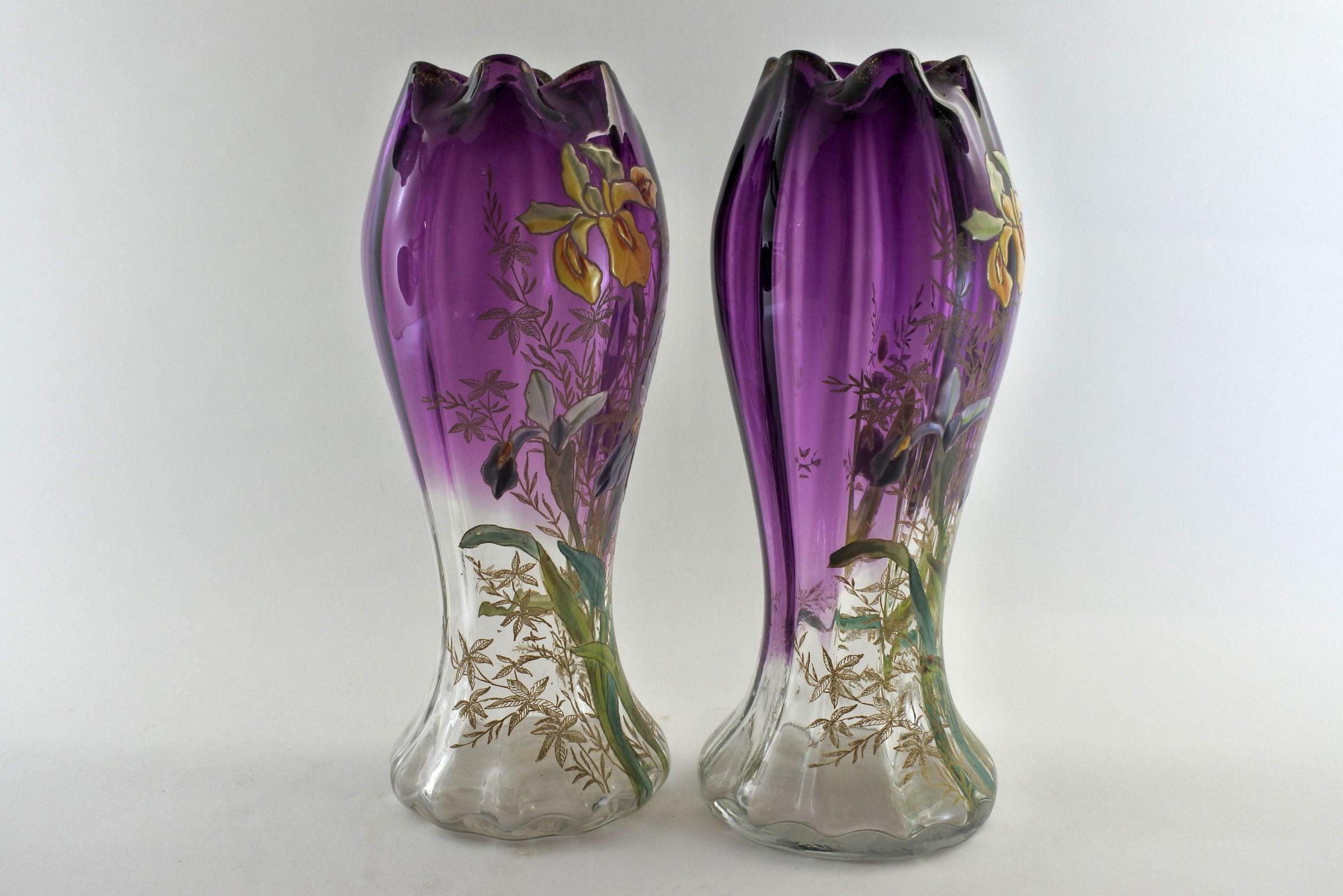 Coppia di vasi Legras in vetro soffiato e smalti con iris - 4