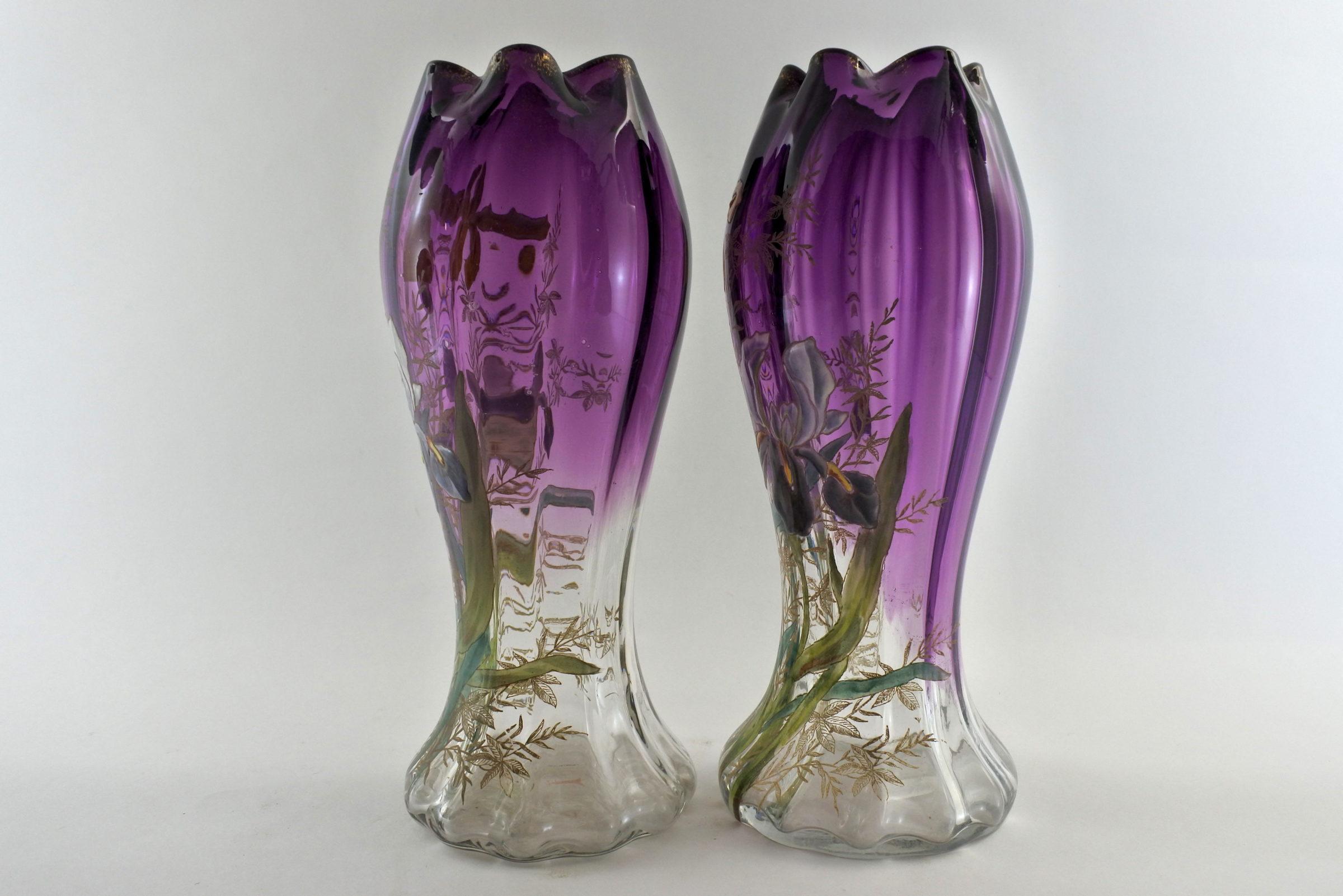 Coppia di vasi Legras in vetro soffiato e smalti con iris - 2
