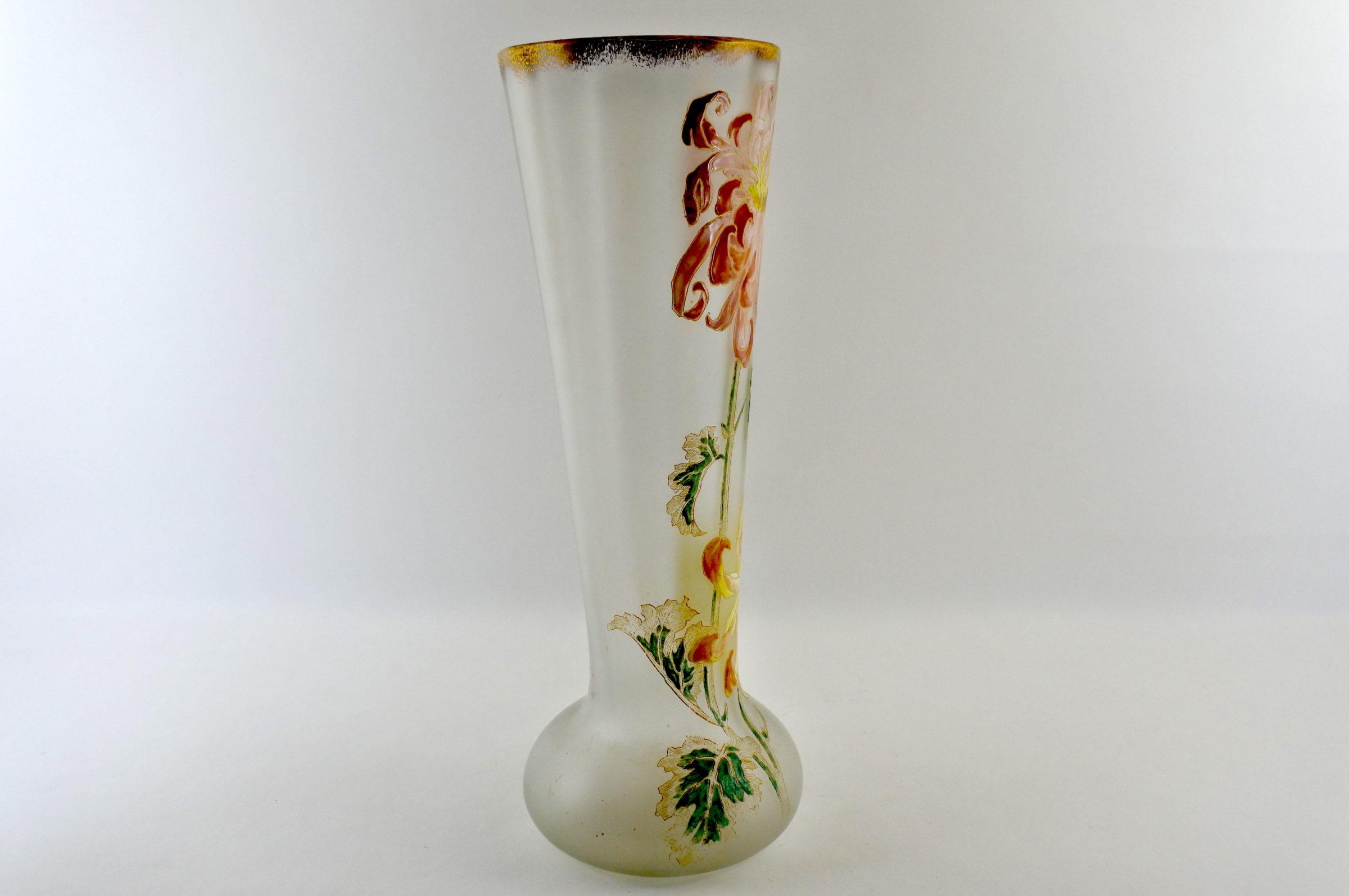 Vaso Legras in vetro soffiato e smalti con crisantemi - Altezza 39,7 cm - 3