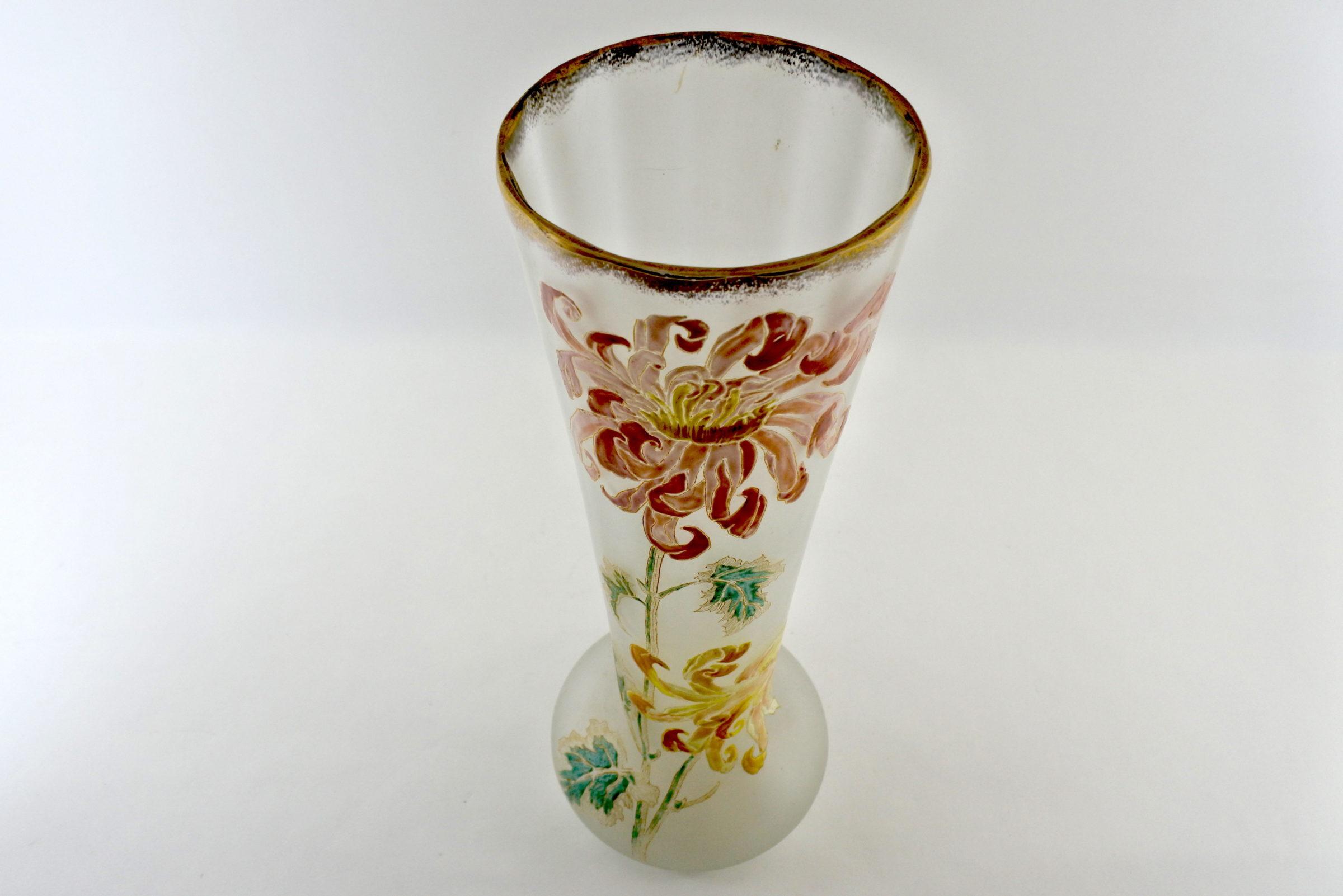 Vaso Legras in vetro soffiato e smalti con crisantemi - Altezza 39,7 cm - 4