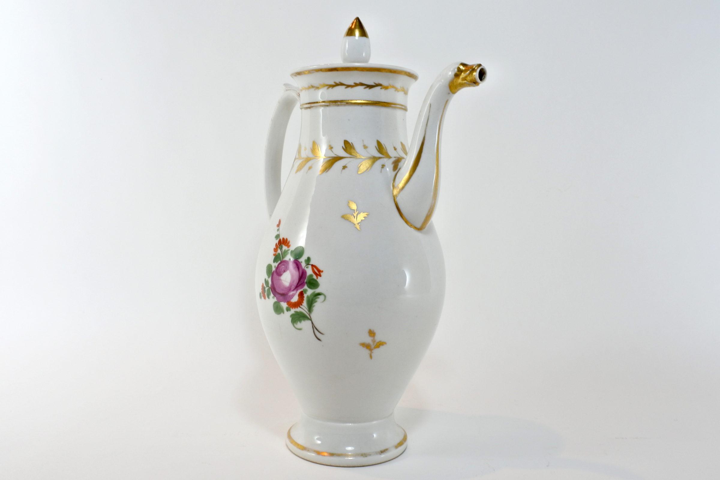Caffettiera in porcellana Vecchia Parigi - Vieux Paris. Decoro con fiori - 4