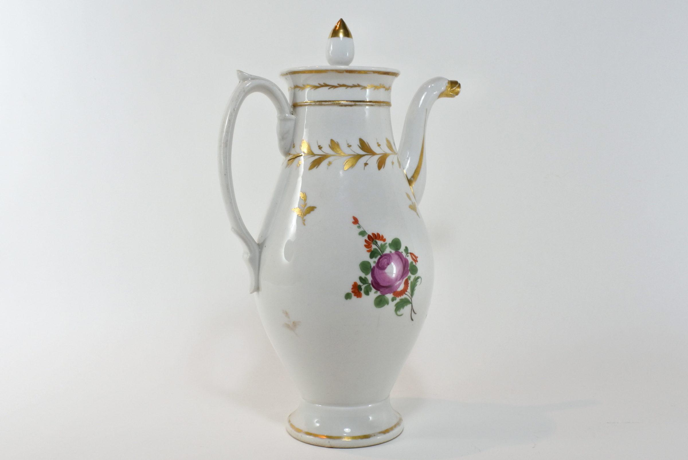 Caffettiera in porcellana Vecchia Parigi - Vieux Paris. Decoro con fiori - 3