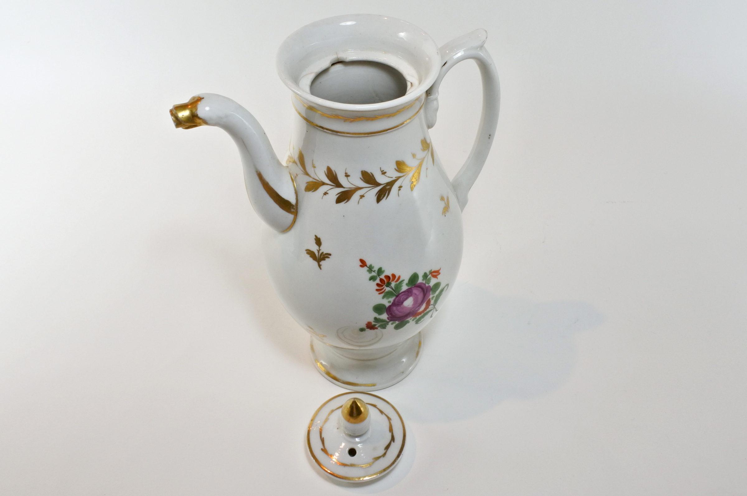 Caffettiera in porcellana Vecchia Parigi - Vieux Paris. Decoro con fiori - 5