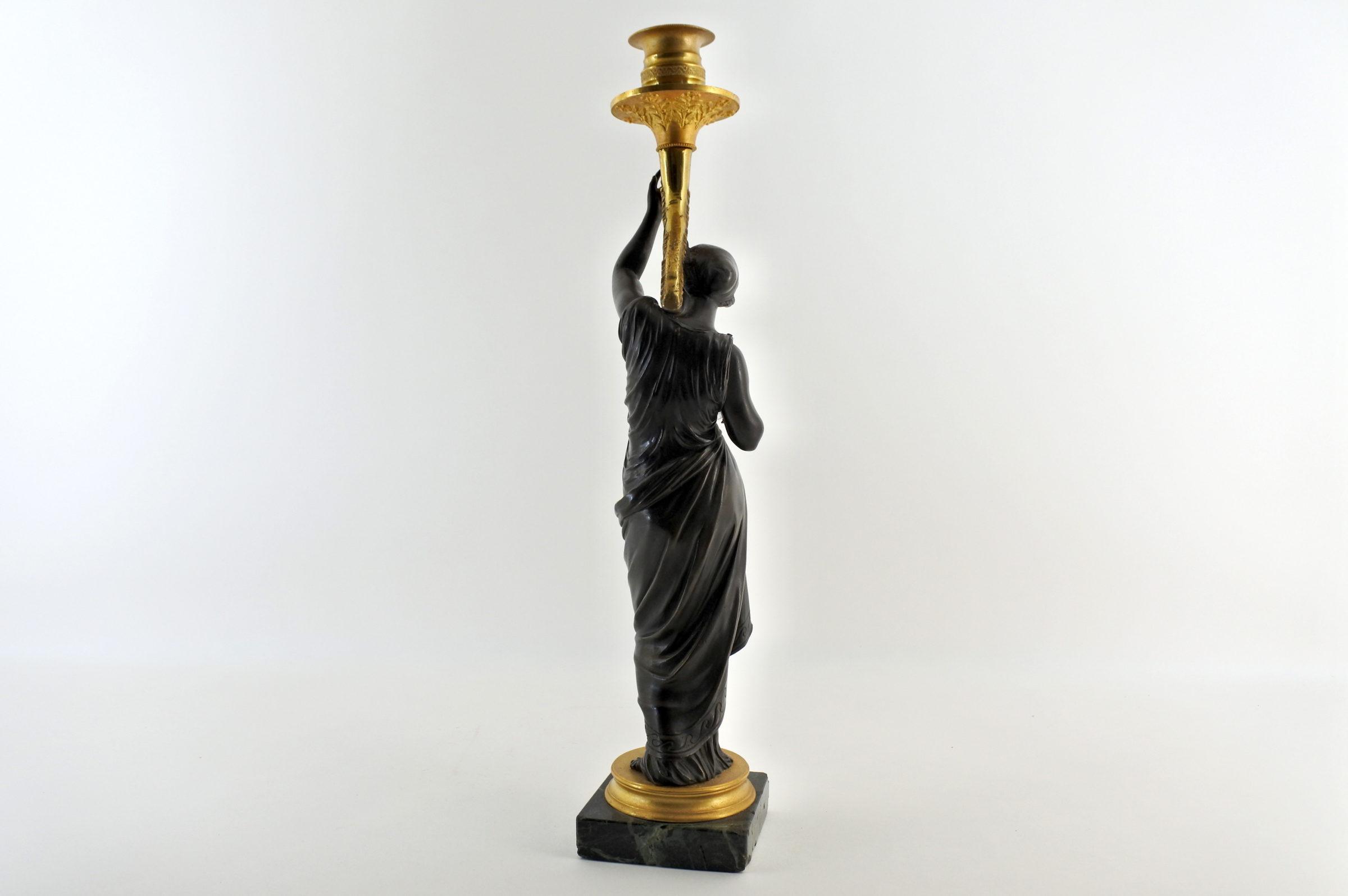 Candeliere in bronzo con parti dorate al mercurio - 3