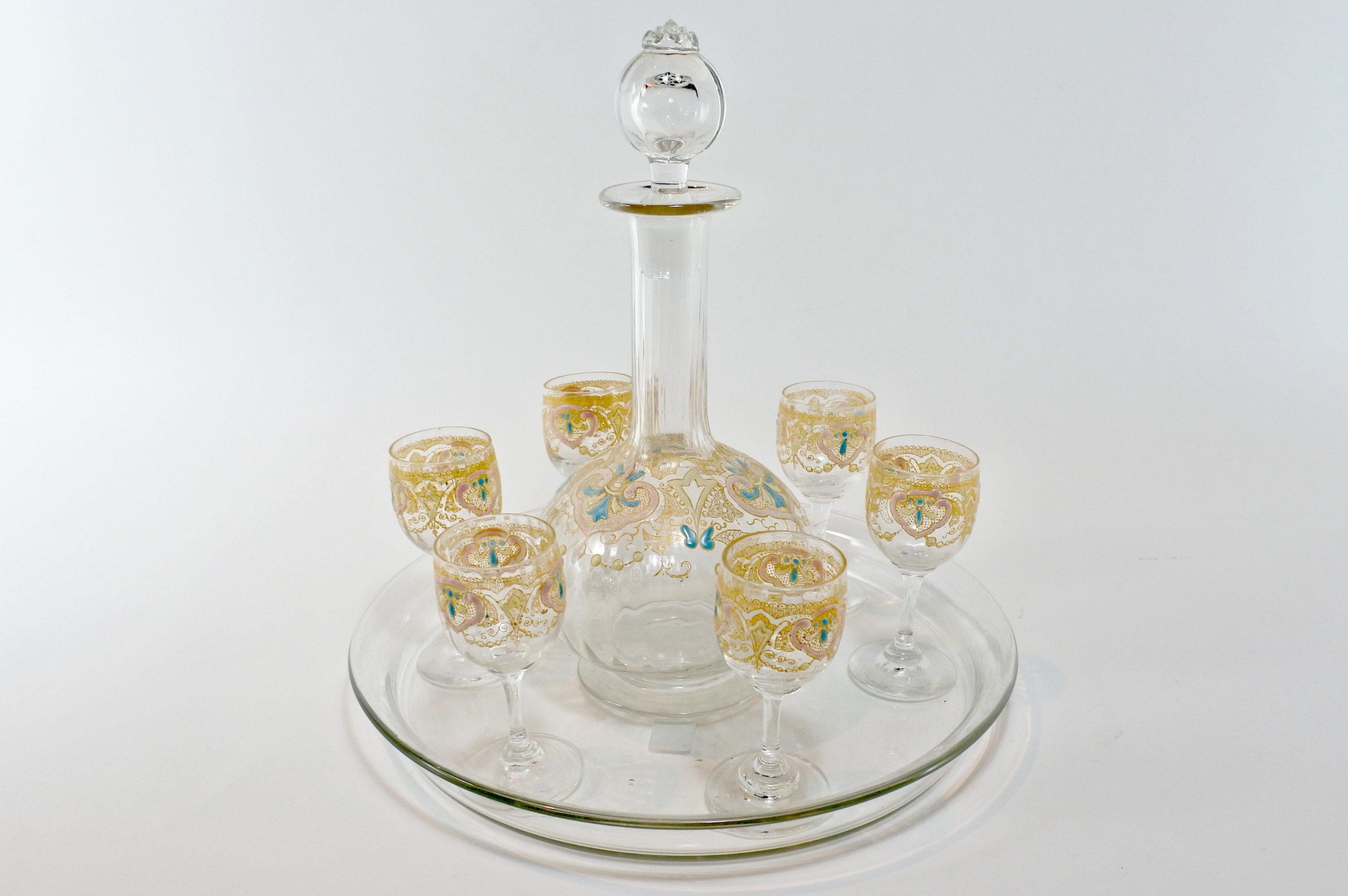Servizio Legras da liquore in vetro soffiato e smalti