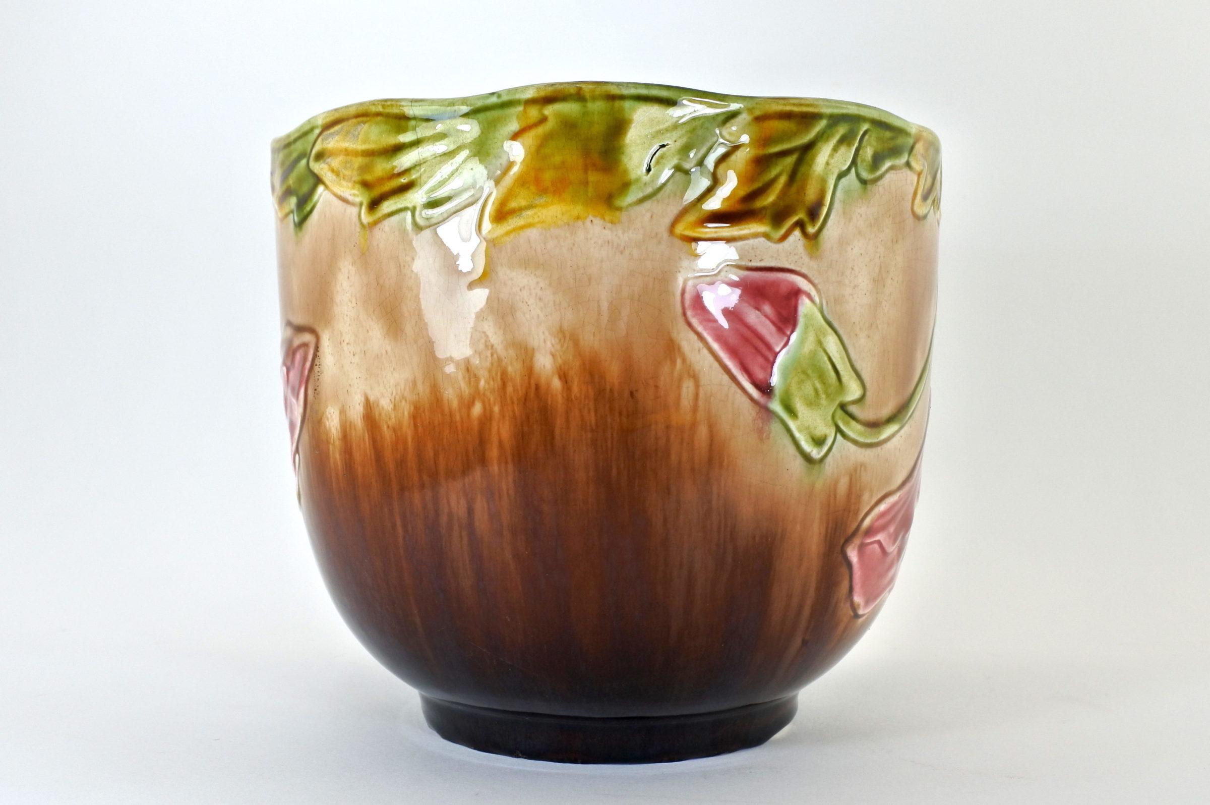 Cache pot in ceramica barbotine con papavero - 2