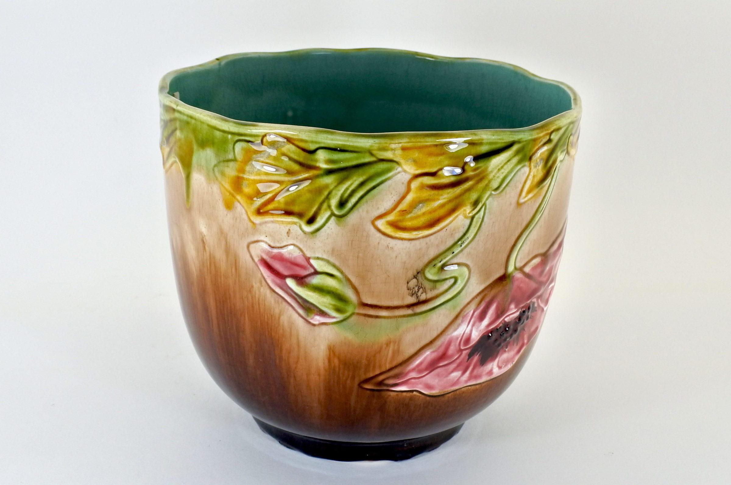 Cache pot in ceramica barbotine con papavero - 3