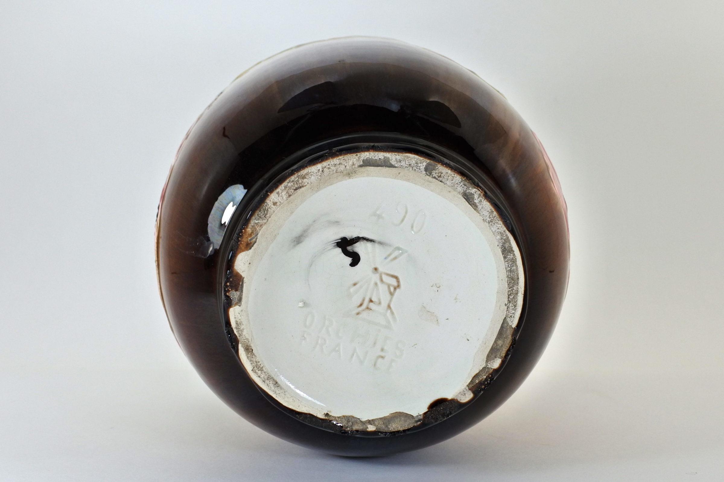 Cache pot in ceramica barbotine con papavero - 4
