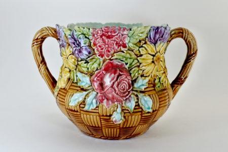 Cache pot in ceramica barbotine con fiori - Corbeille