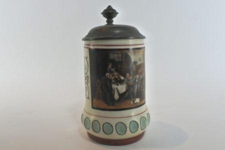 Boccale in ceramica e peltro – Litofania con bambine