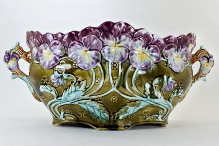 Jardinière in ceramica barbotine con viole del pensiero - Pensées
