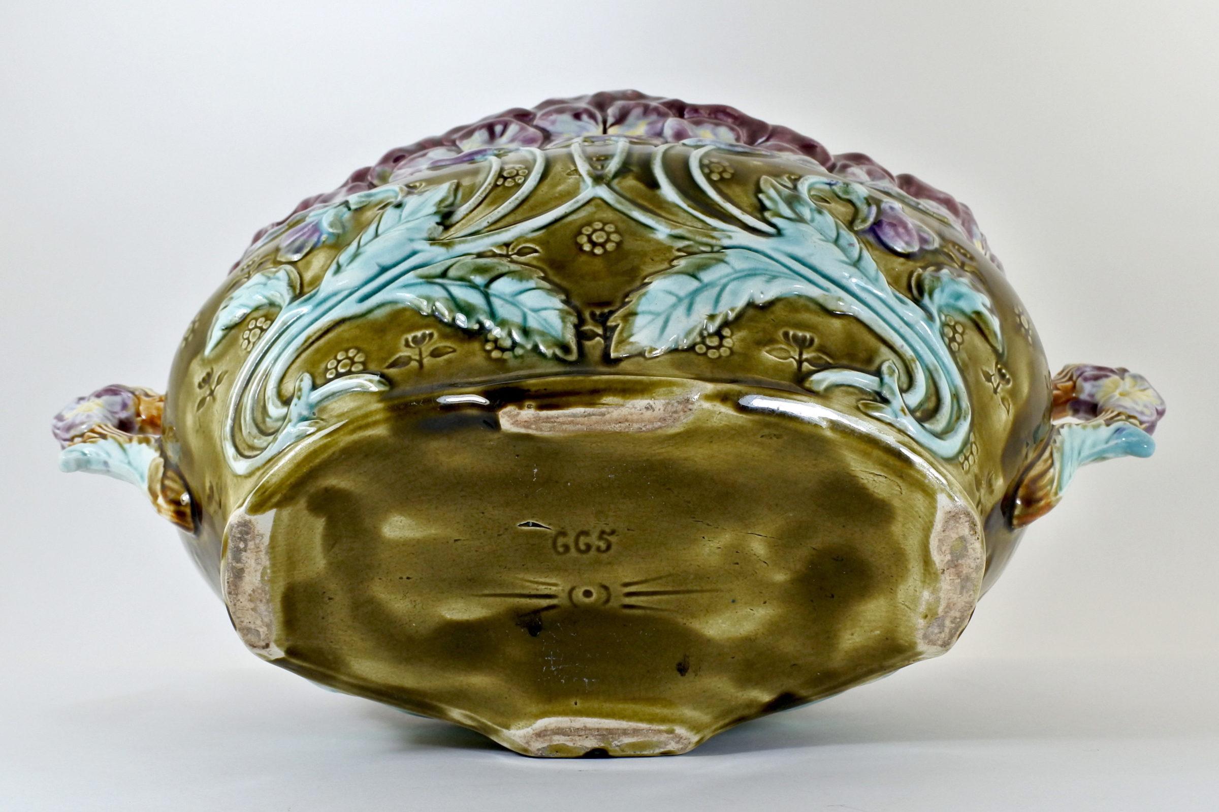 Jardinière in ceramica barbotine con viole del pensiero - Pensées - 2