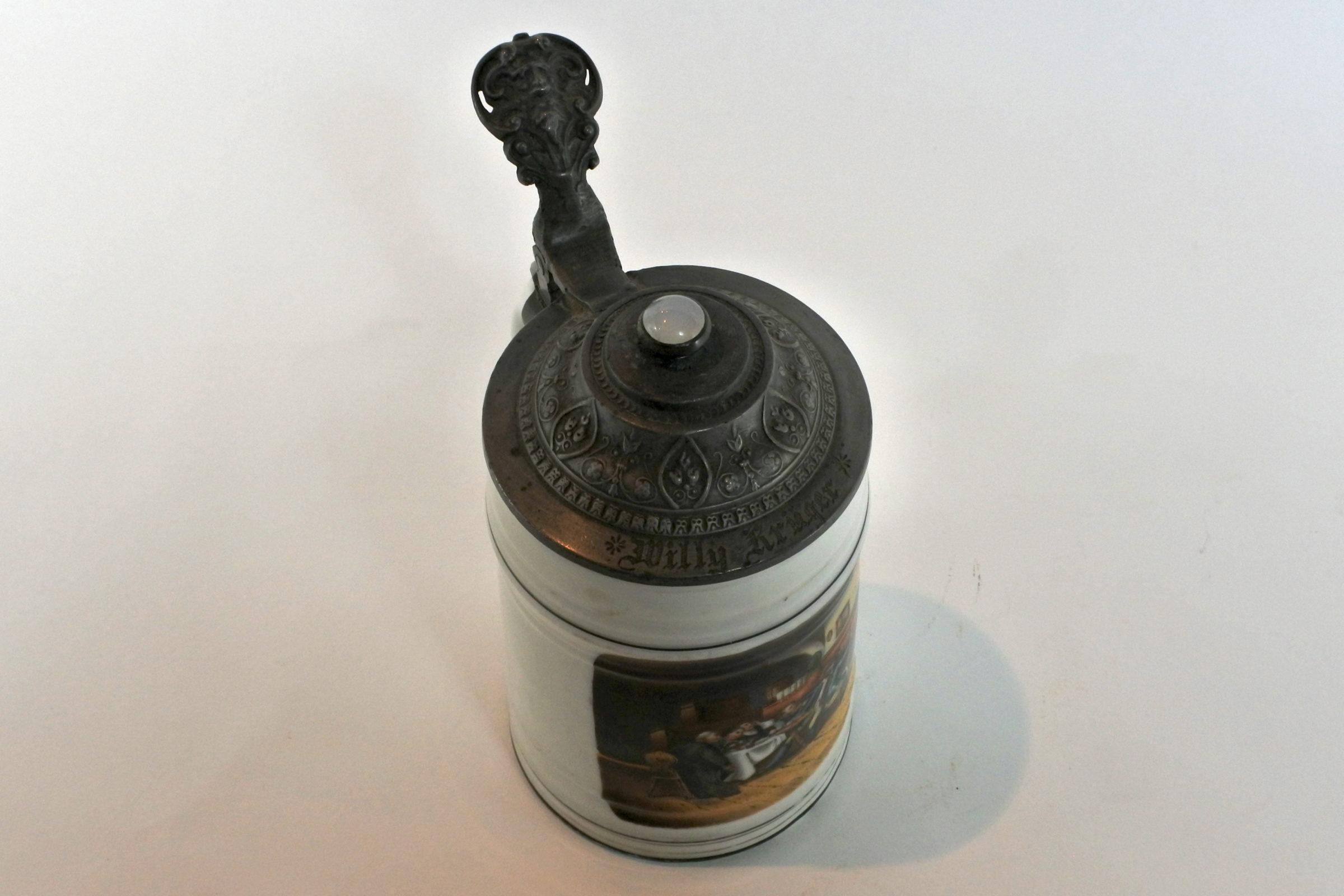Boccale in ceramica e peltro – Litofania con donna - 2