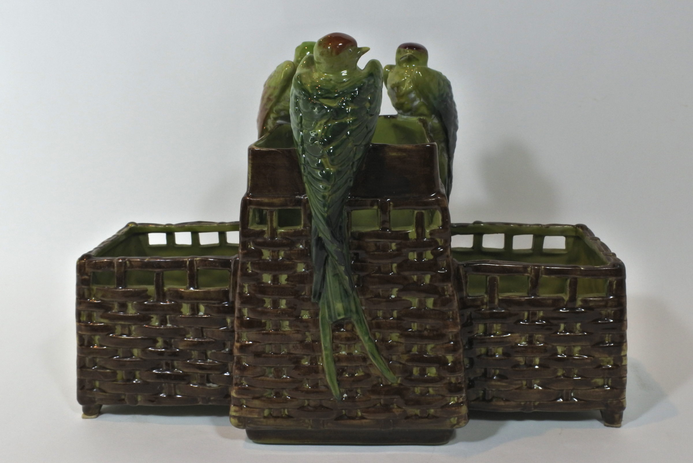Jardinière in ceramica barbotine con uccellini - 2