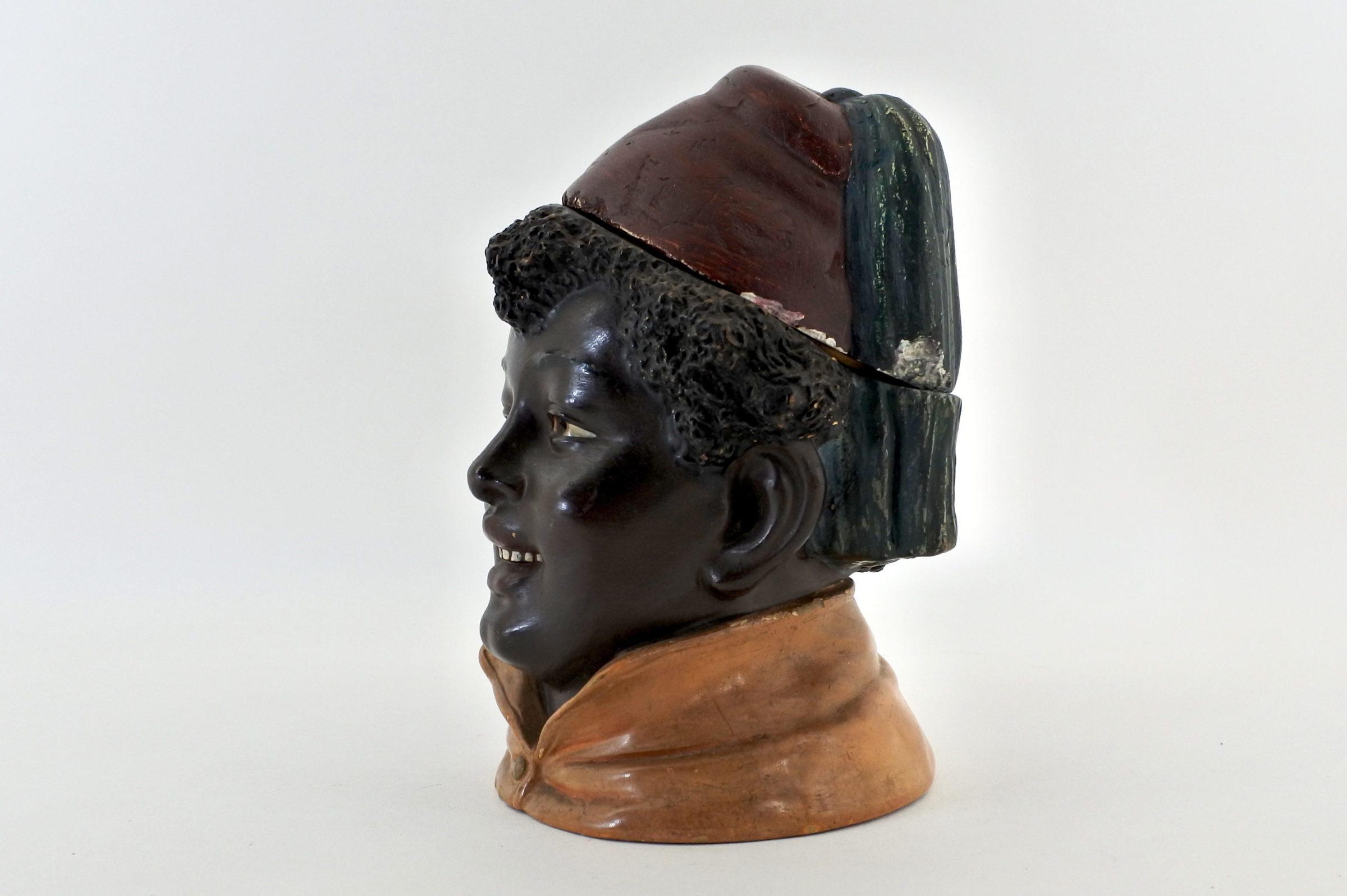 Portatabacco in ceramica rappresentante negretto con fez - 2