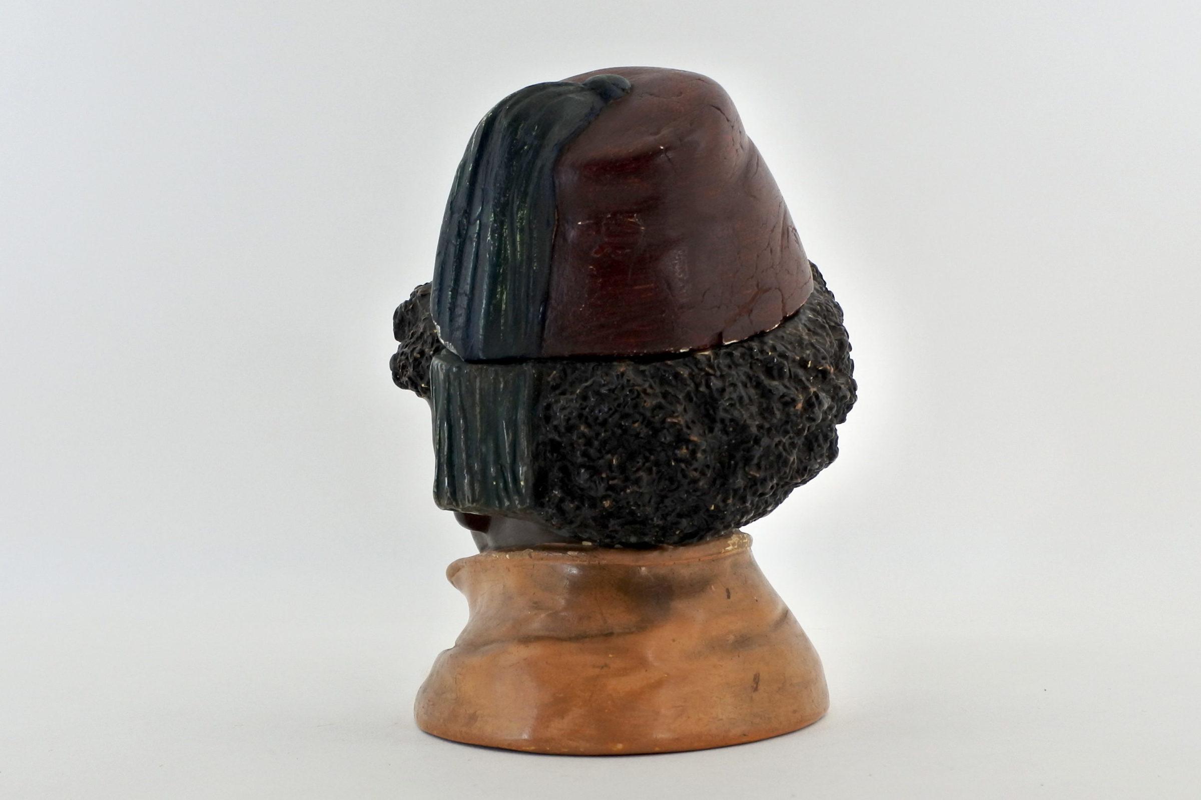 Portatabacco in ceramica rappresentante negretto con fez - 3